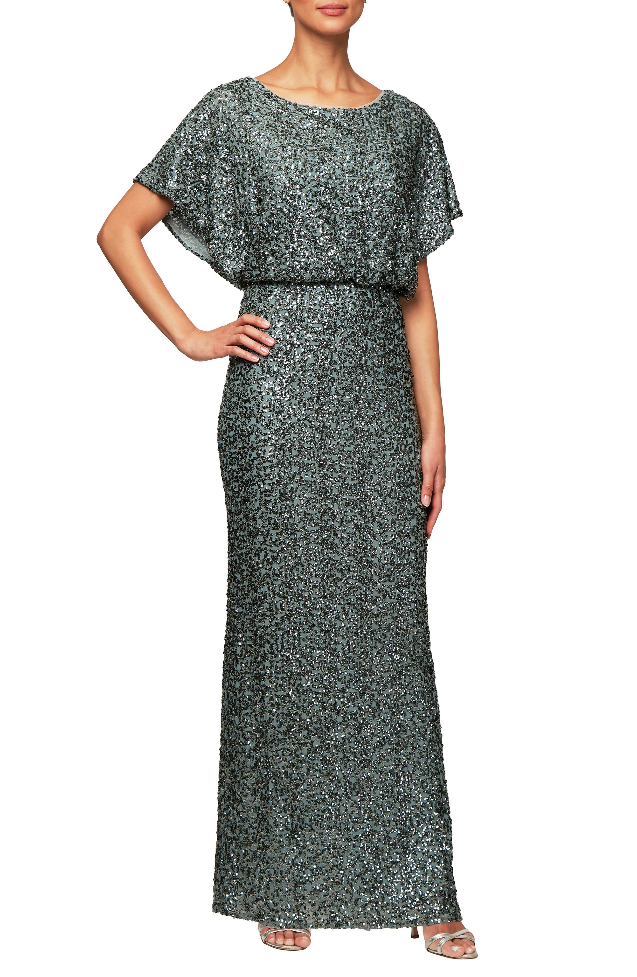 Alex Evenings Sequin Blouson Evening Dress, Green
