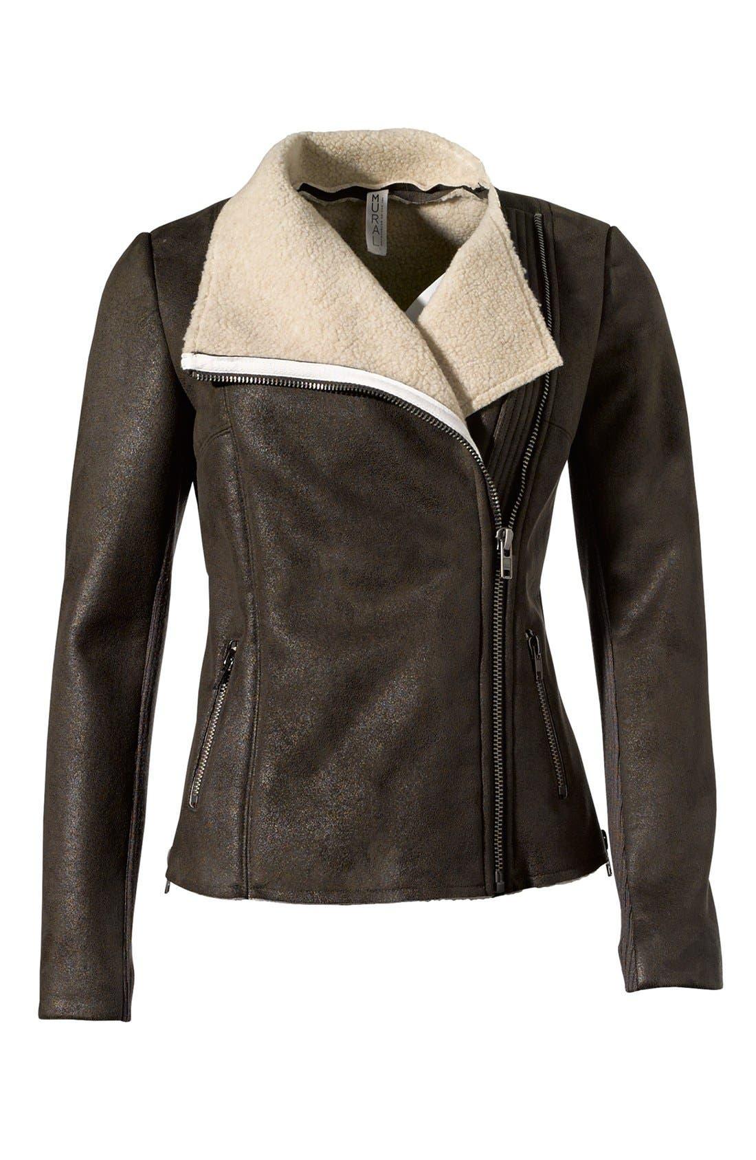 Faux Shearling Moto Jacket,                             Alternate thumbnail 4, color,                             341