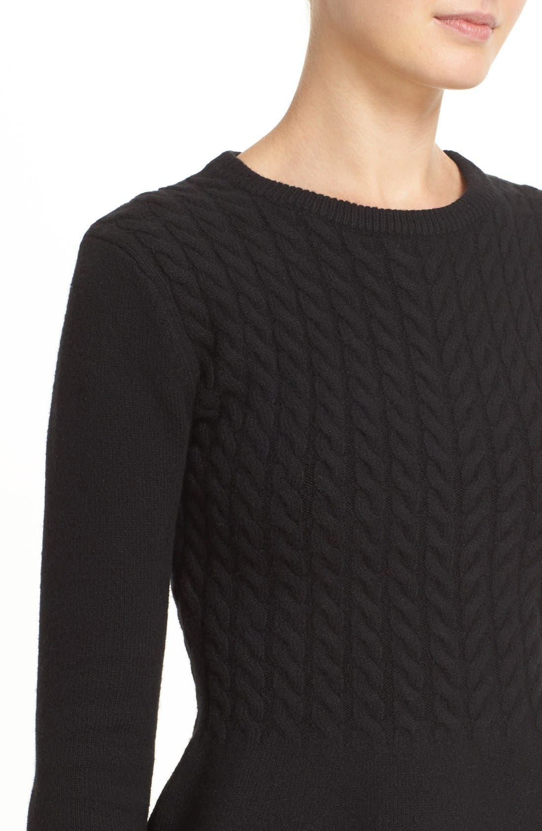 TED BAKER LONDON,                             'Mereda' Cable Knit Peplum Sweater,                             Alternate thumbnail 4, color,                             001
