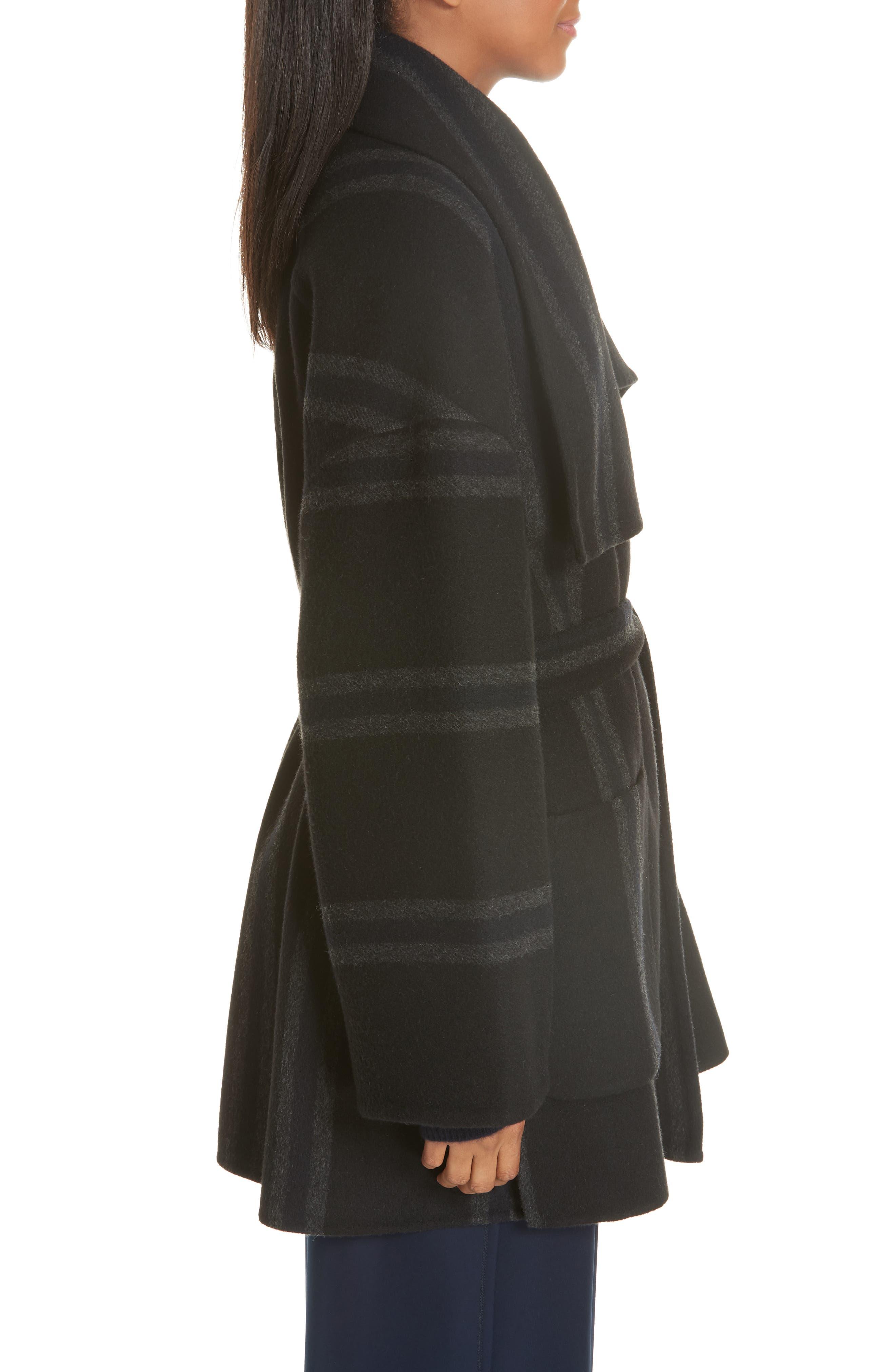 Stripe Blanket Coat,                             Alternate thumbnail 3, color,                             ONYX