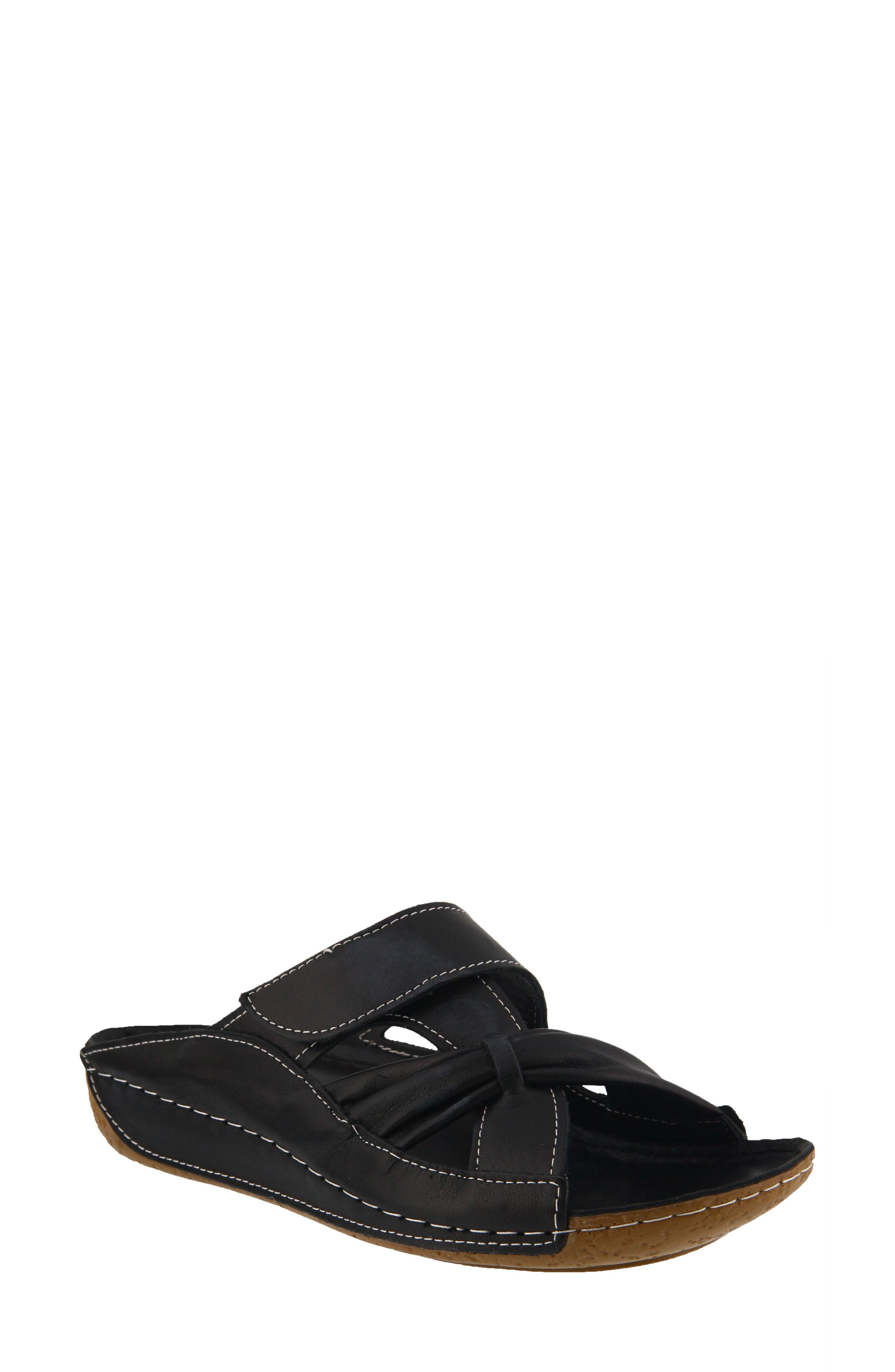 Gretta Sandal,                         Main,                         color, BLACK LEATHER