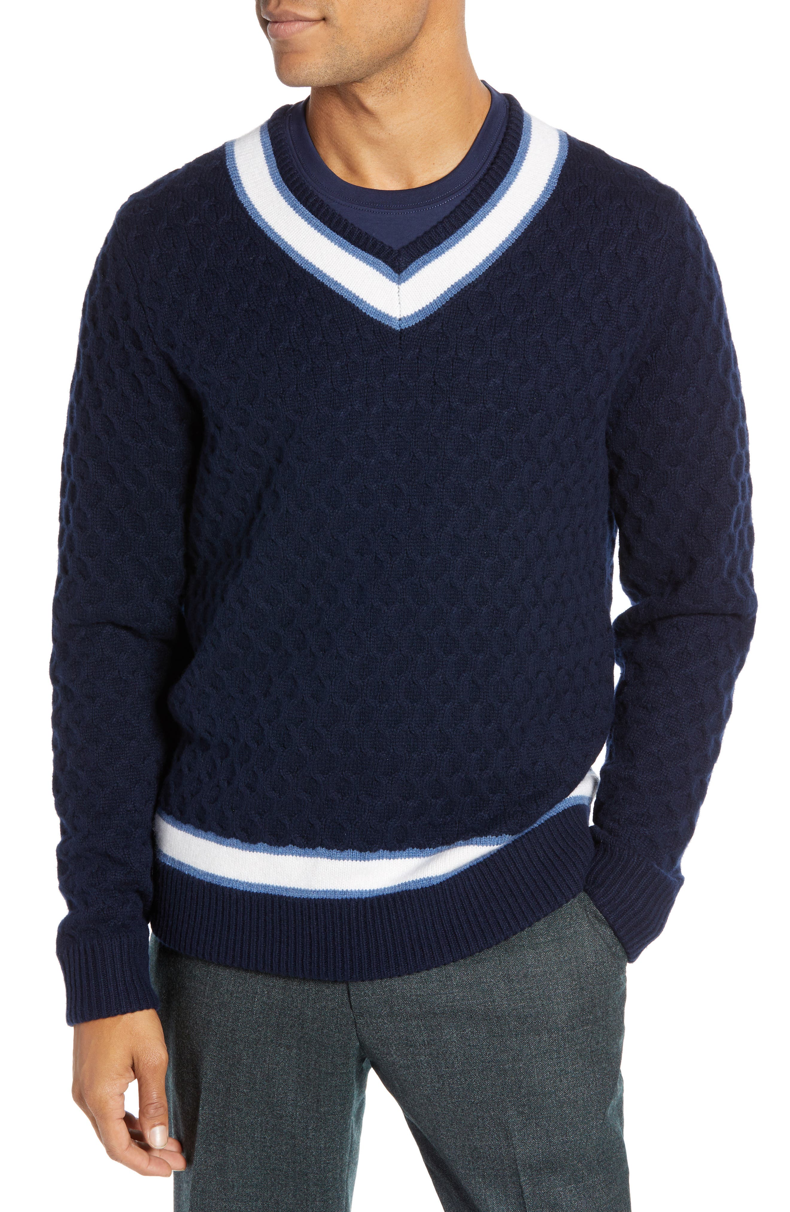 Varsity Stripe V-Neck Wool Blend Sweater,                             Main thumbnail 1, color,                             NAVY IRIS