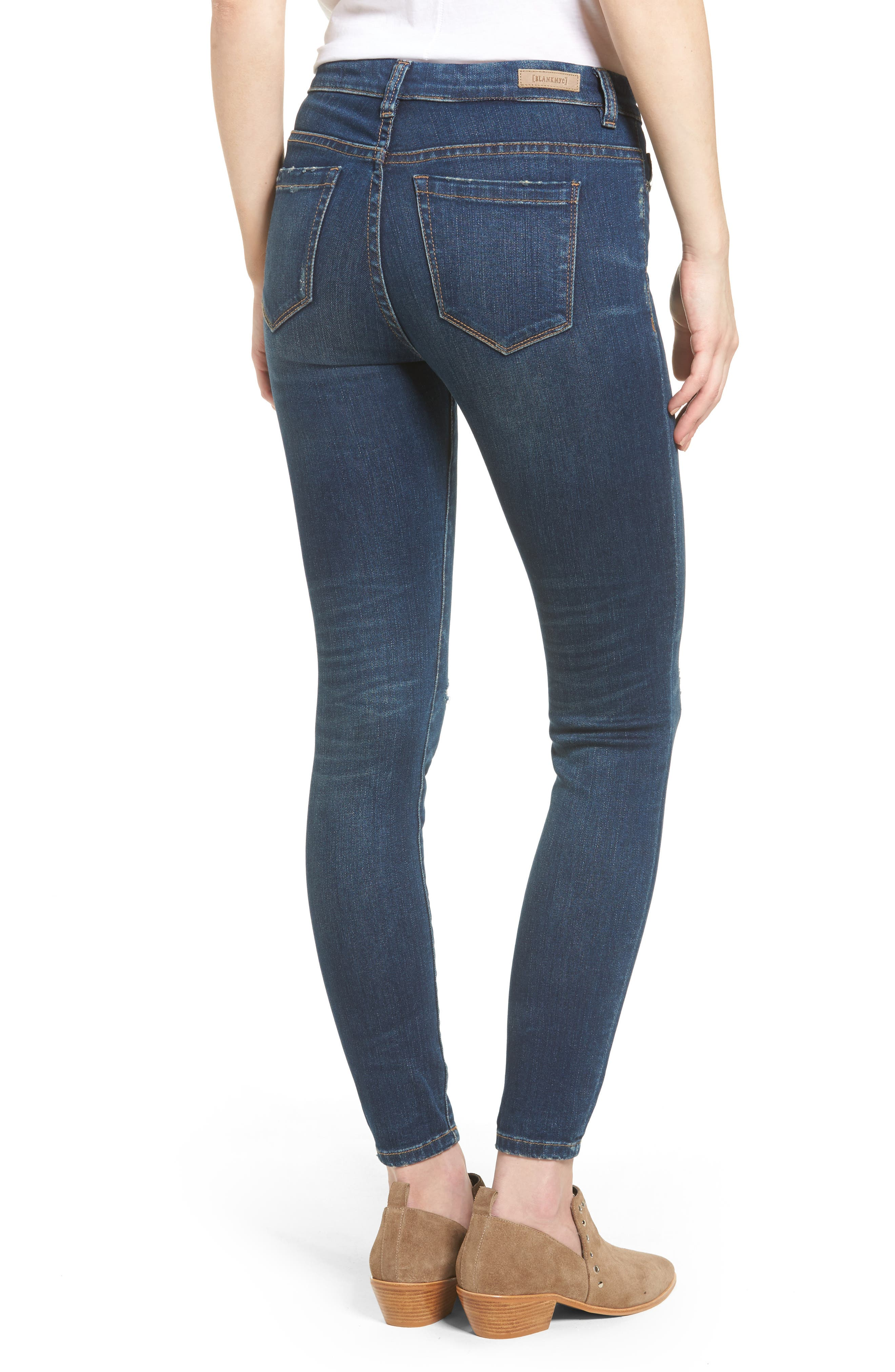 Ripped Mid Rise Skinny Ankle Jeans,                             Alternate thumbnail 2, color,                             420