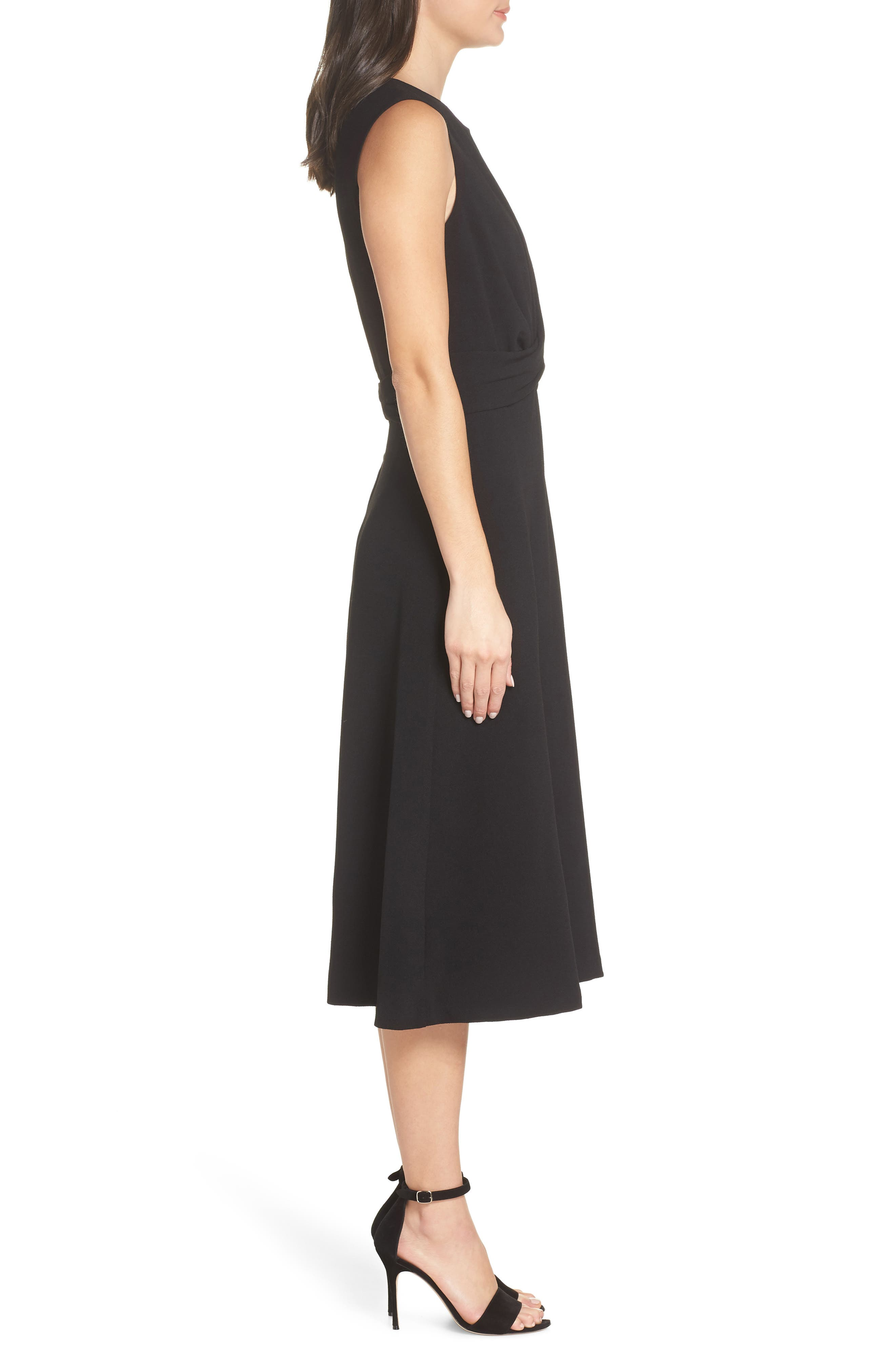Sleeveless Cross Front Midi Dress,                             Alternate thumbnail 3, color,                             BLACK