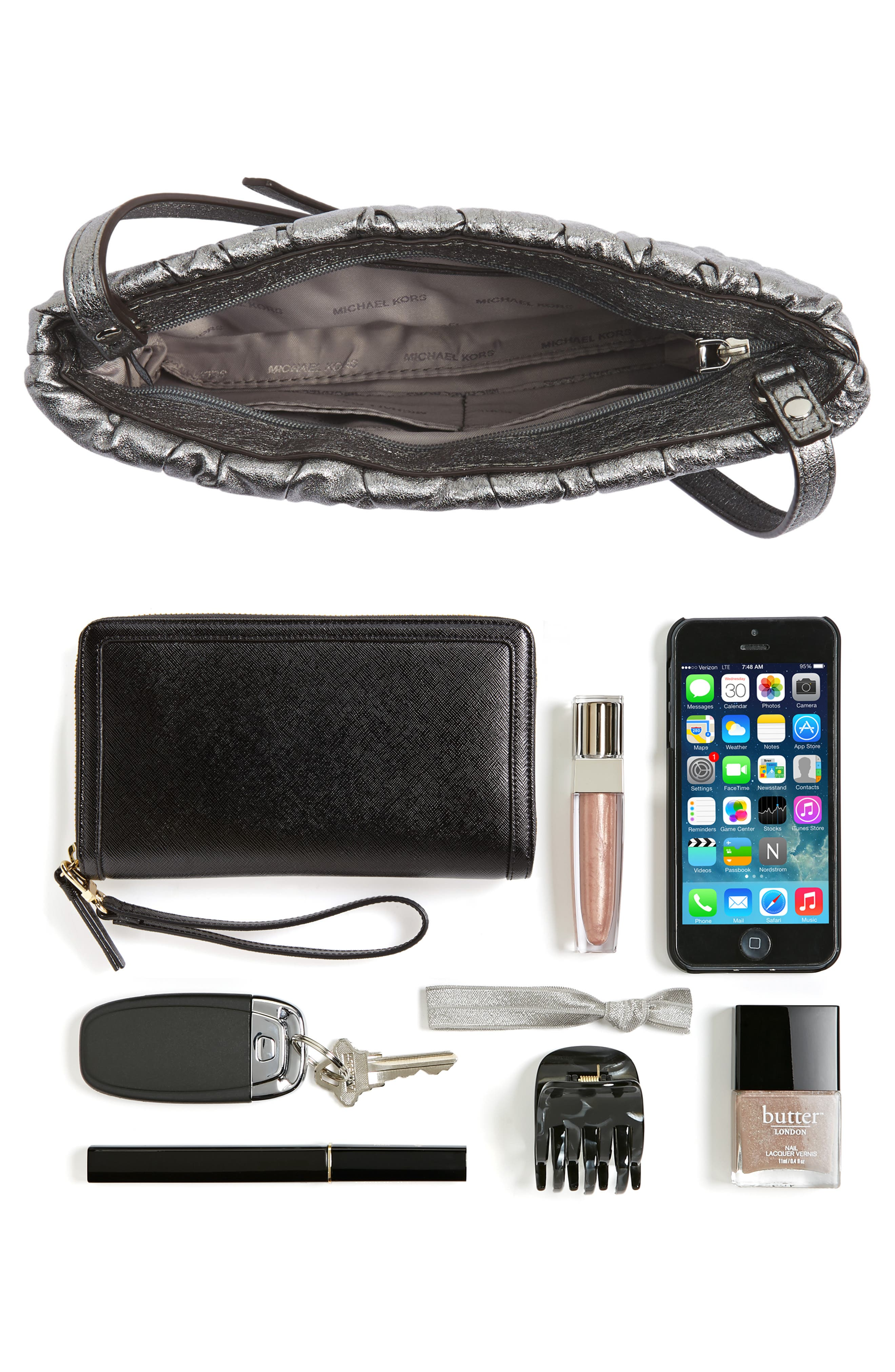 MICHAEL Michael Kors Webster Metallic Leather Clutch,                             Alternate thumbnail 13, color,
