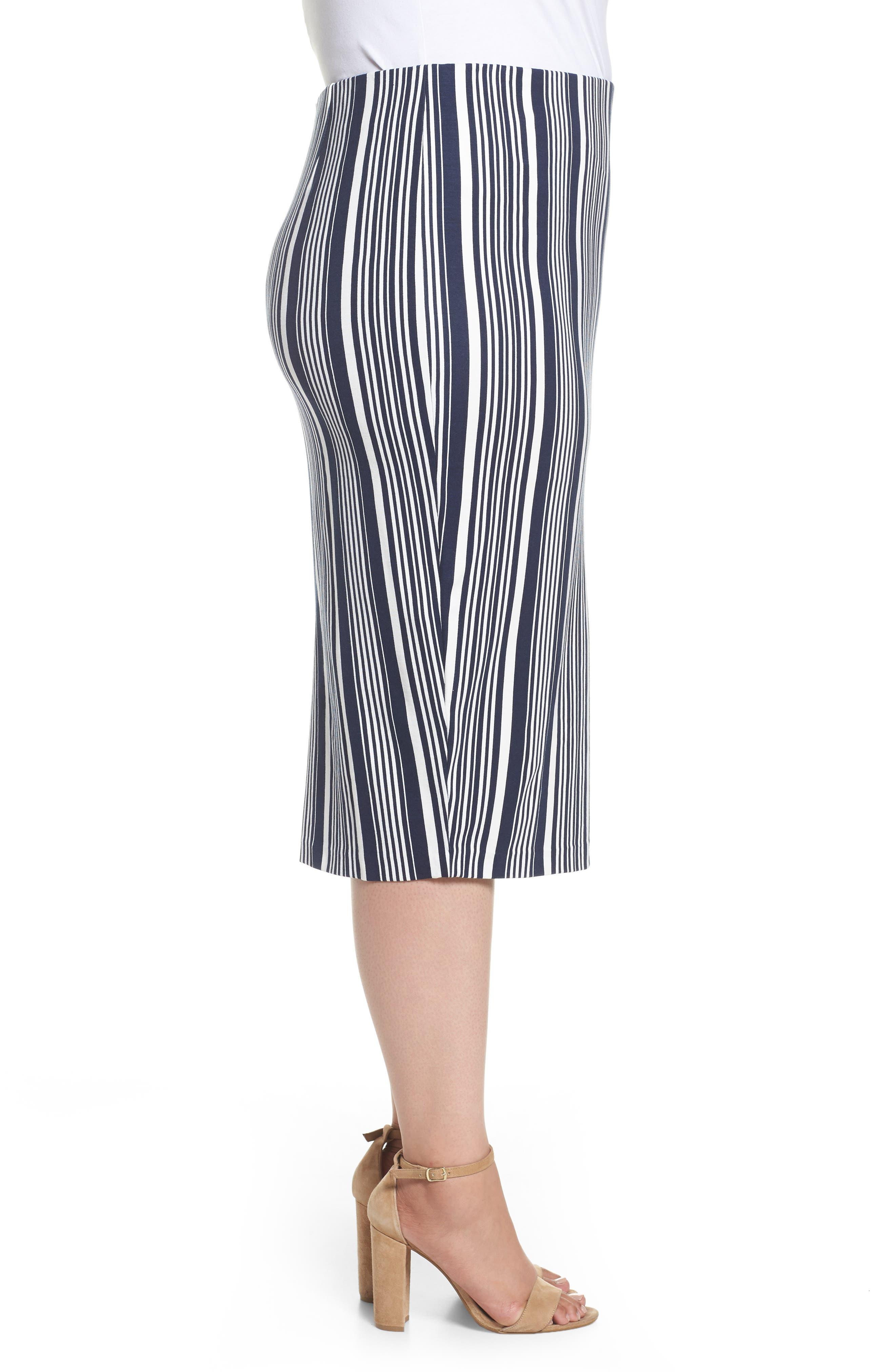 Stripe Ponte Pencil Skirt,                             Alternate thumbnail 3, color,