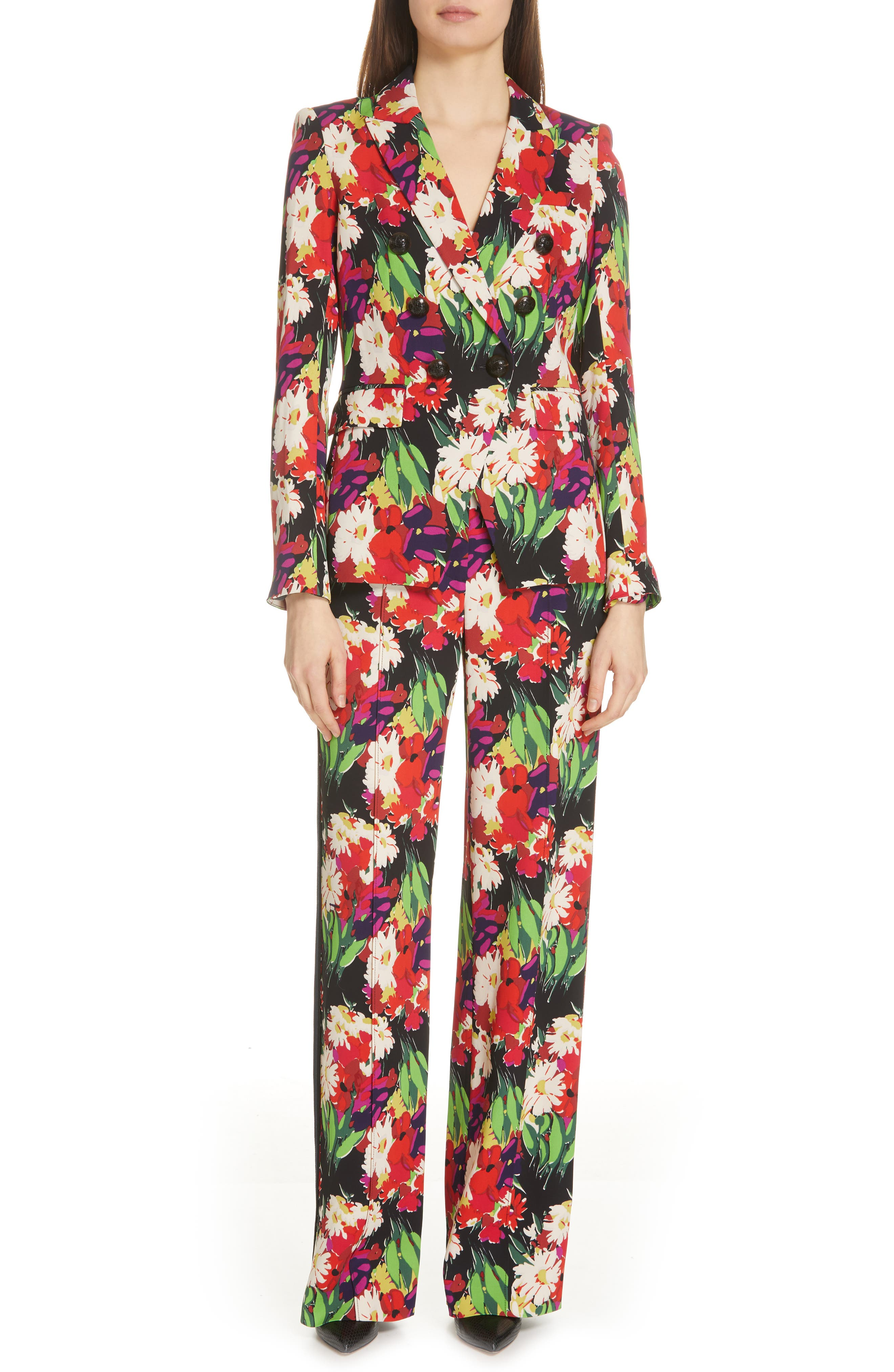 VERONICA BEARD,                             Grigore Floral Print Wide Leg Pants,                             Alternate thumbnail 7, color,                             BLACK MULTI