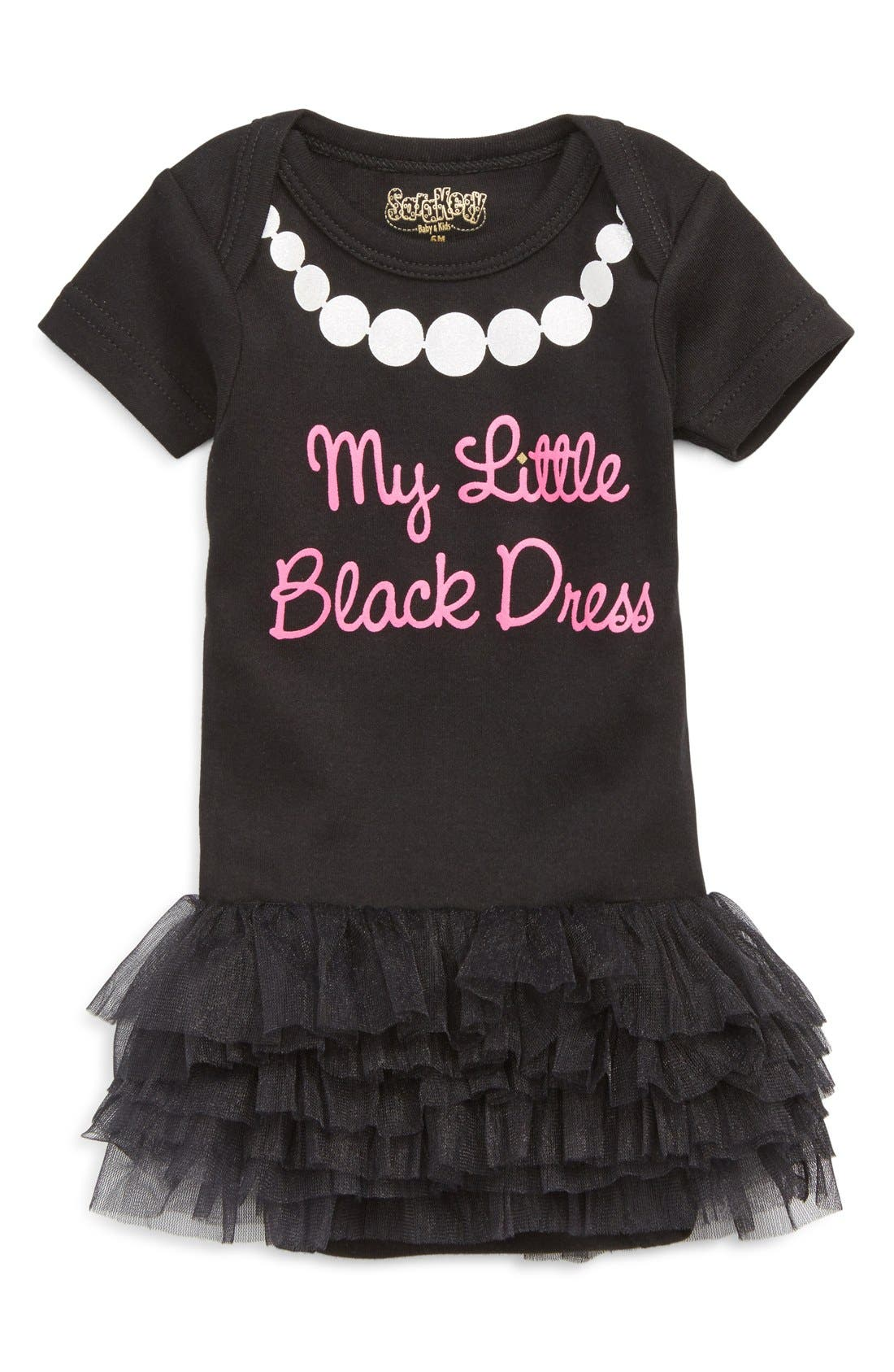 'Black Dress' Tutu Bodysuit,                             Main thumbnail 1, color,                             BLACK