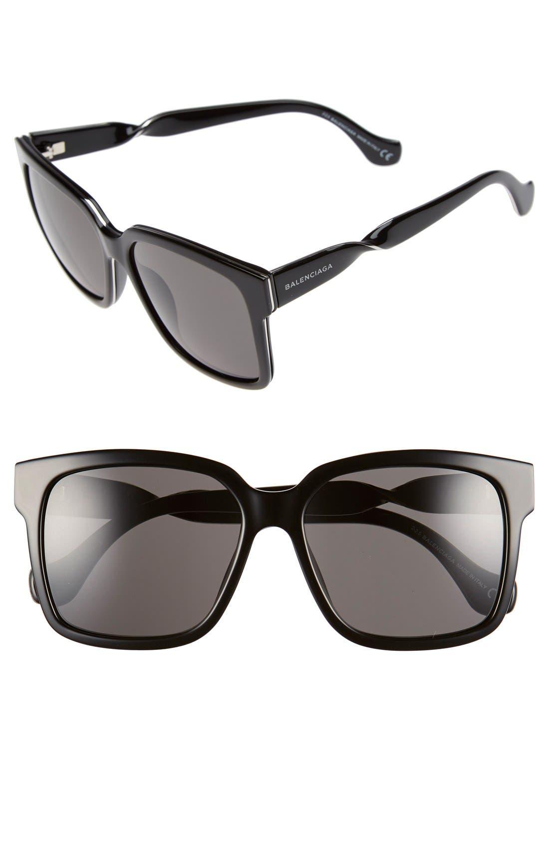 Paris 'BA0053' 55mm Cat Eye Sunglasses,                         Main,                         color, 001