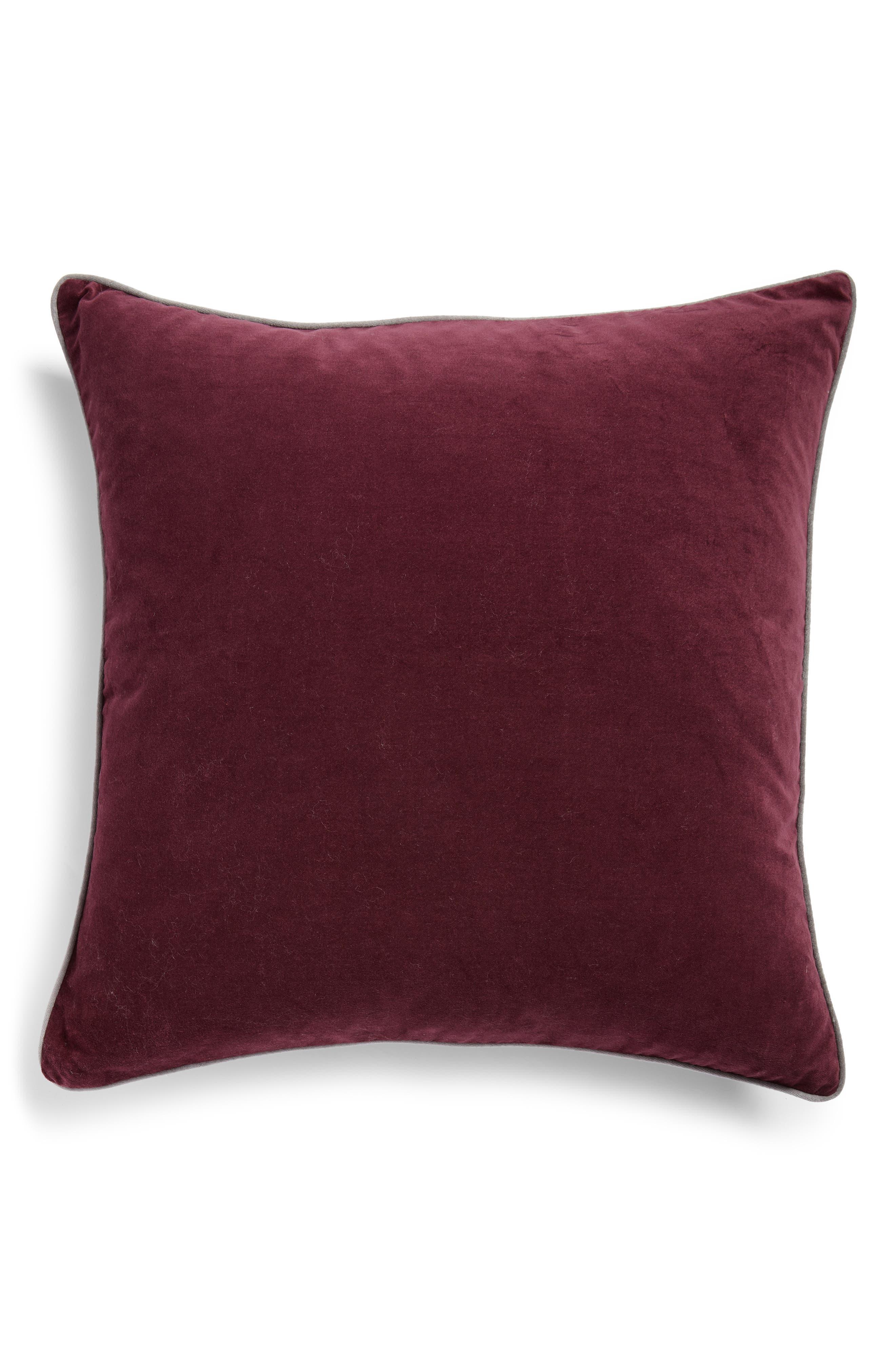 Velvet Border Accent Pillow,                             Main thumbnail 1, color,                             BURGUNDY STEM