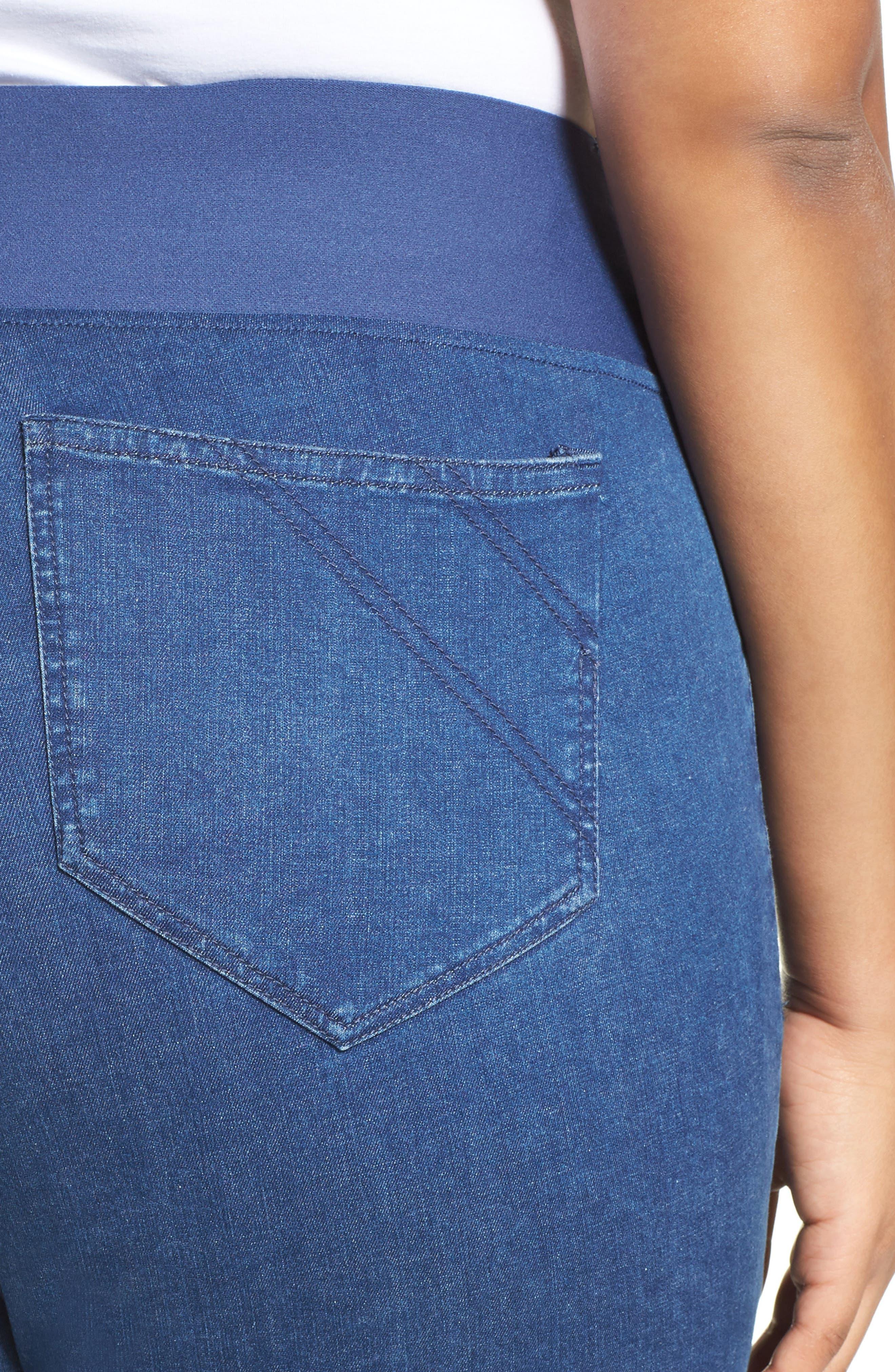 Nina Slimming Pull-On Capri Jeans,                             Alternate thumbnail 4, color,                             400