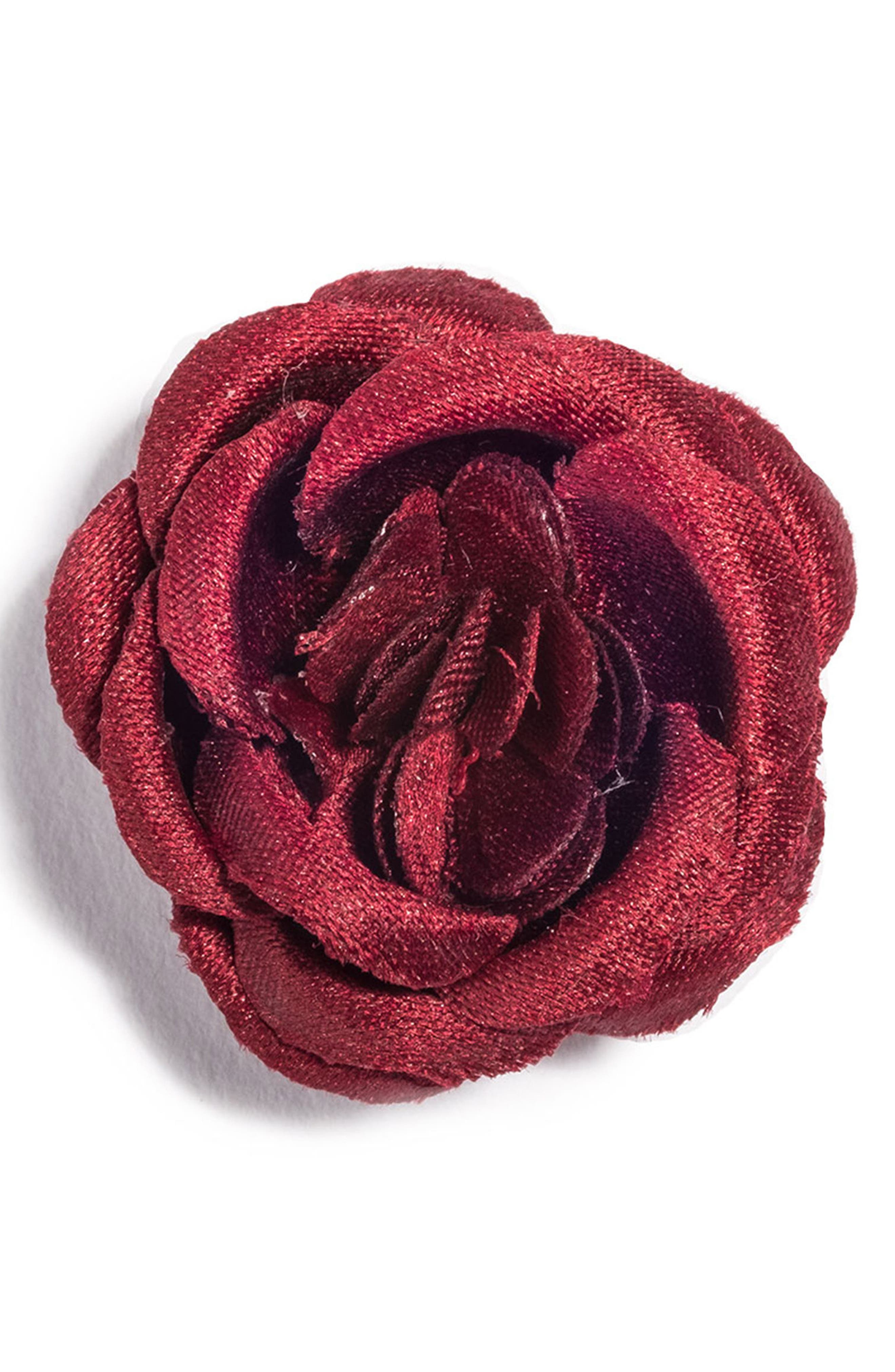 Satin Lapel Flower,                             Main thumbnail 1, color,                             RED