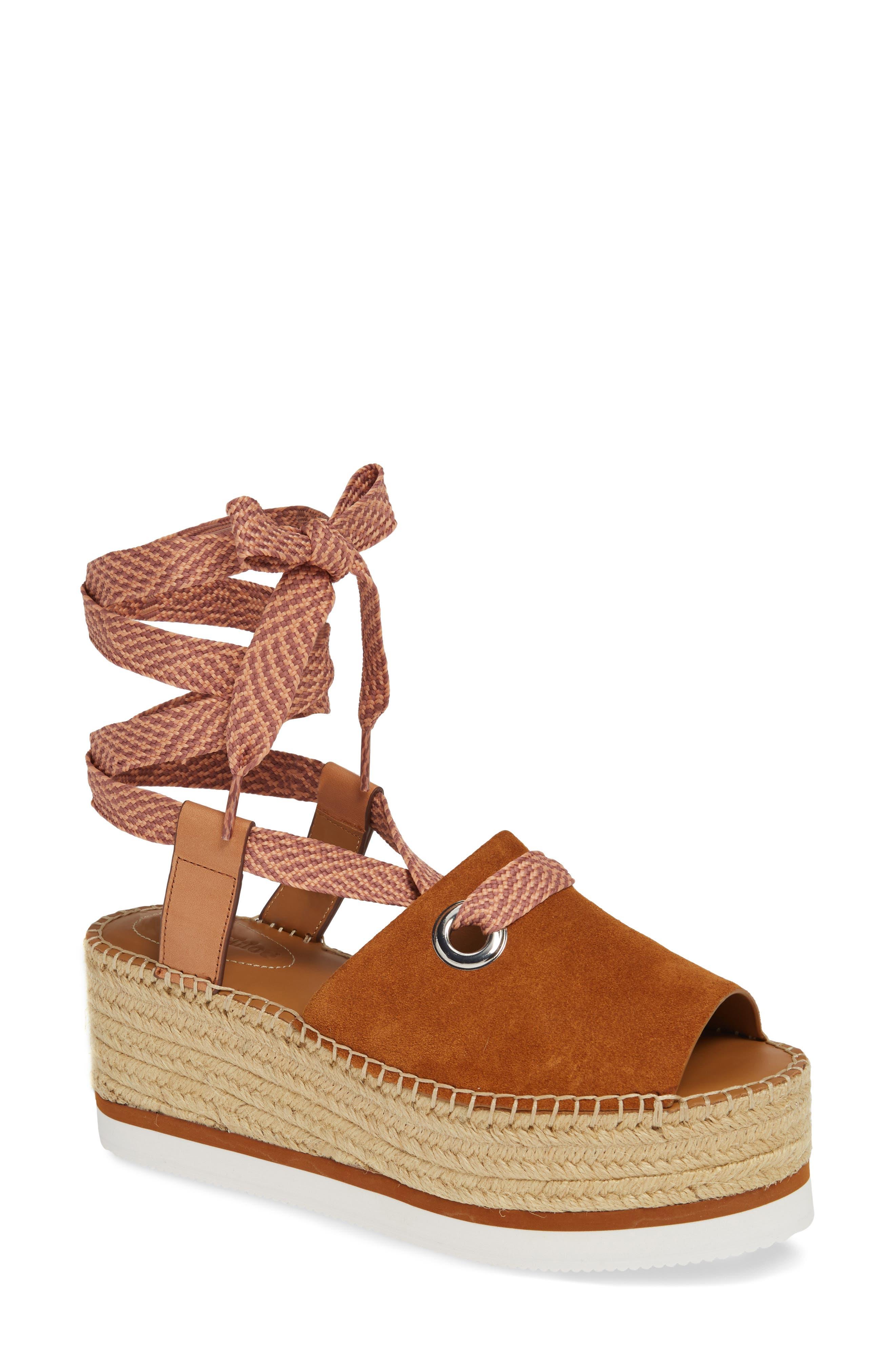 Glyn Amber Platform Ankle Wrap Sandal, Main, color, TAN