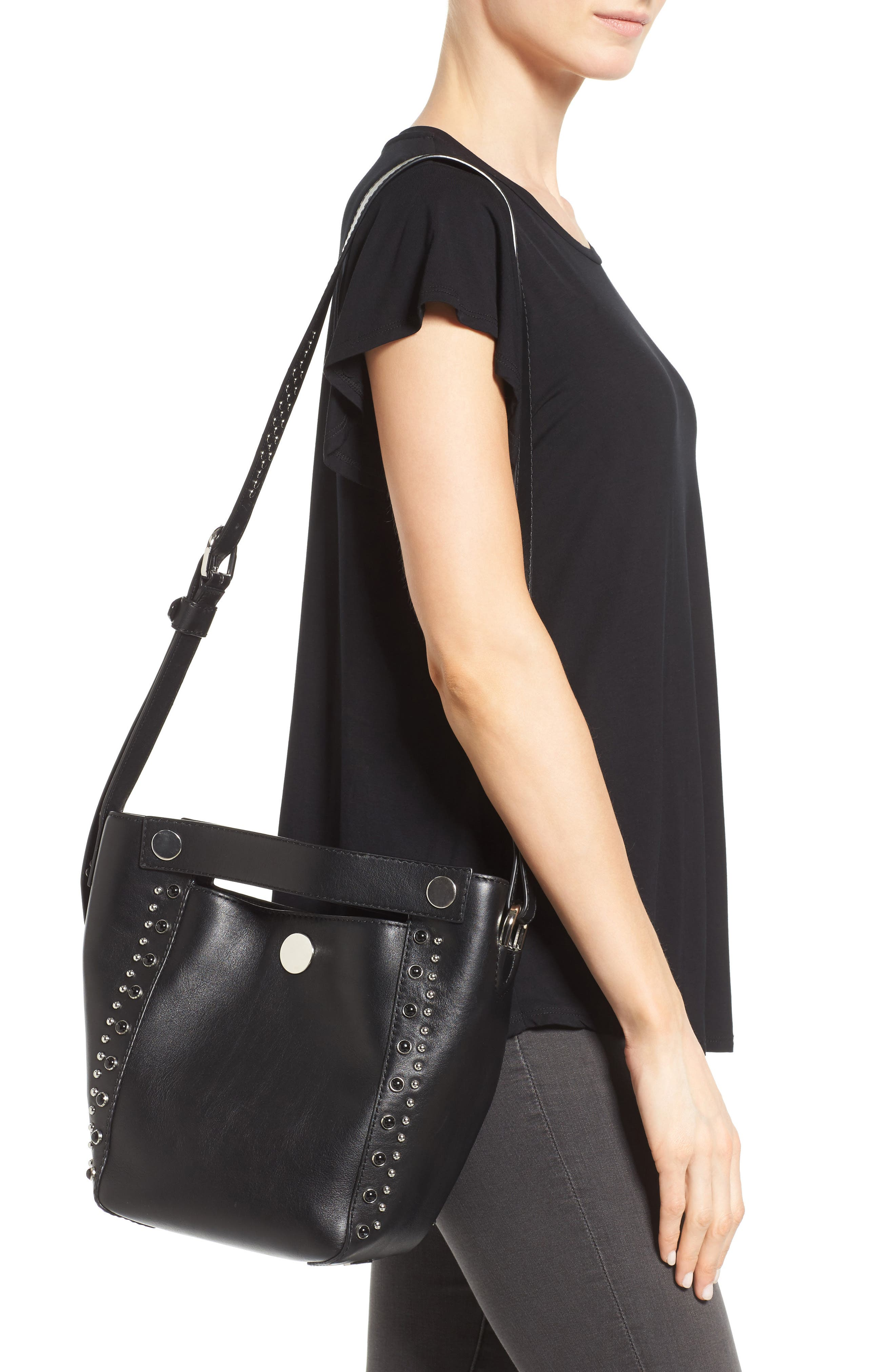 Small Dolly Studded Leather Tote,                             Alternate thumbnail 2, color,                             001