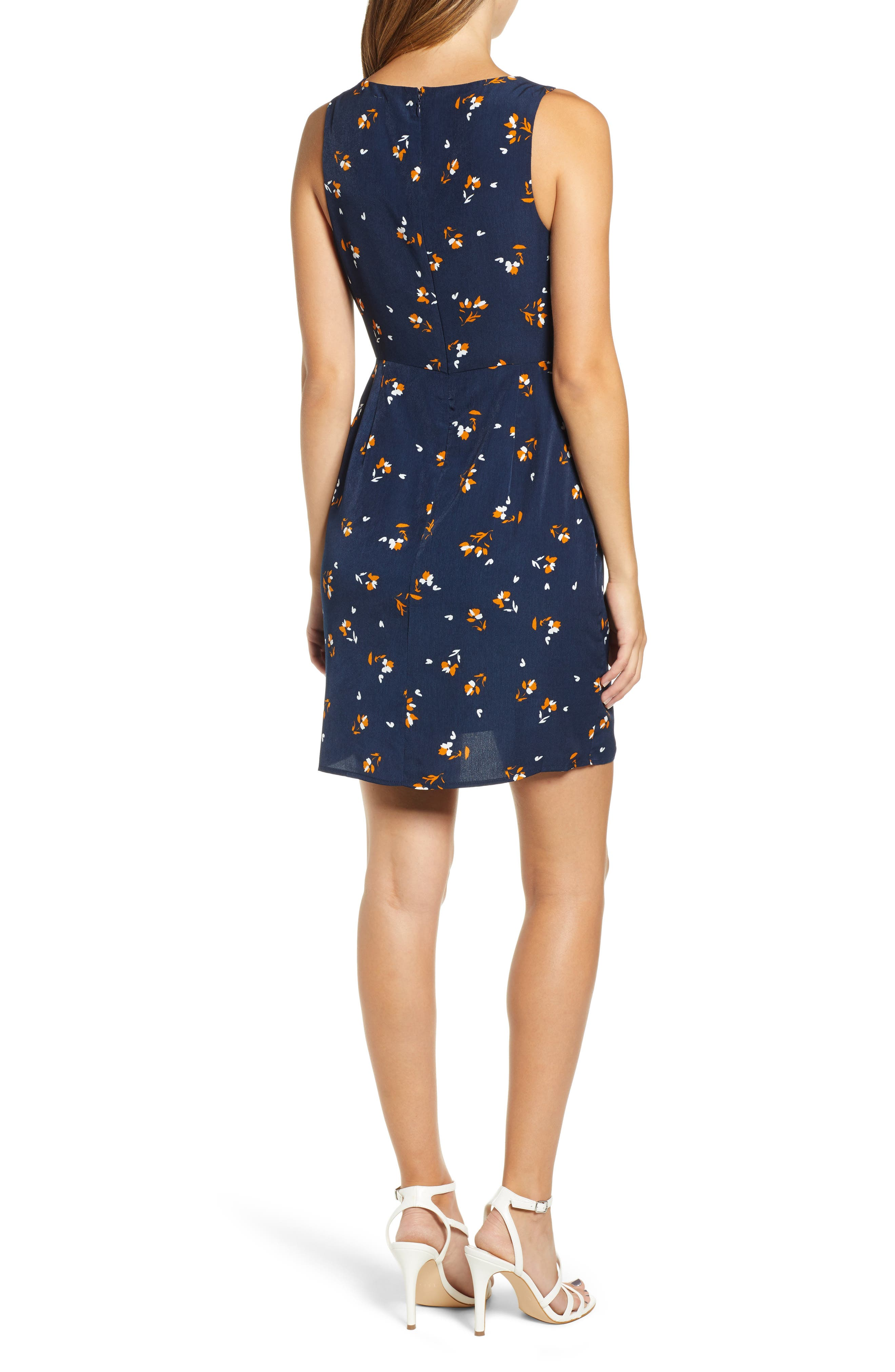 Tie-Front Mini Dress,                             Alternate thumbnail 2, color,                             NAVY EVENING DITSY FLORAL