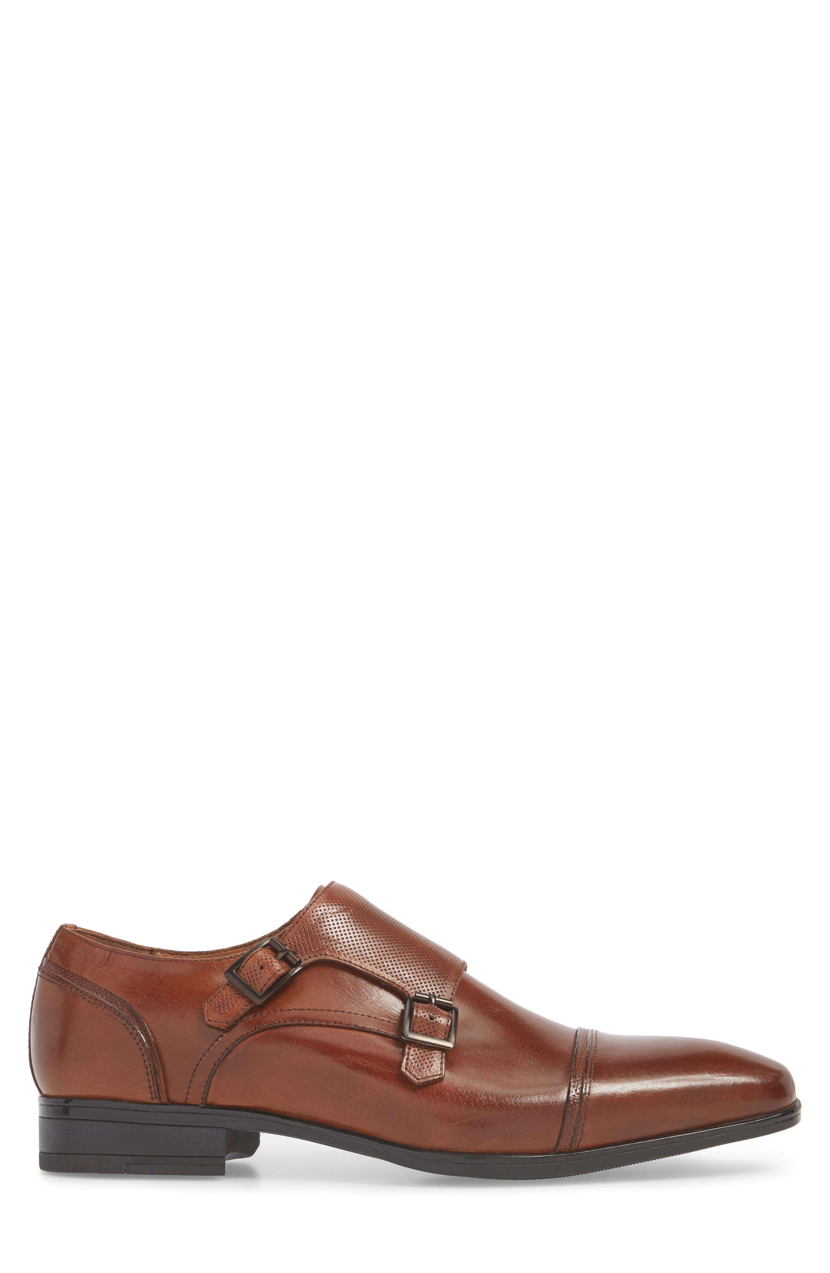 Oliver Cap Toe Monk Shoe,                             Alternate thumbnail 3, color,                             COGNAC LEATHER