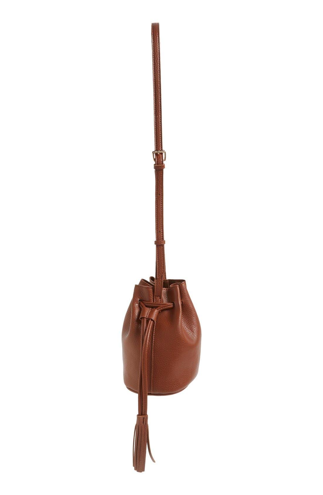 Mini Faux Leather Tassel Bucket Bag,                             Alternate thumbnail 8, color,