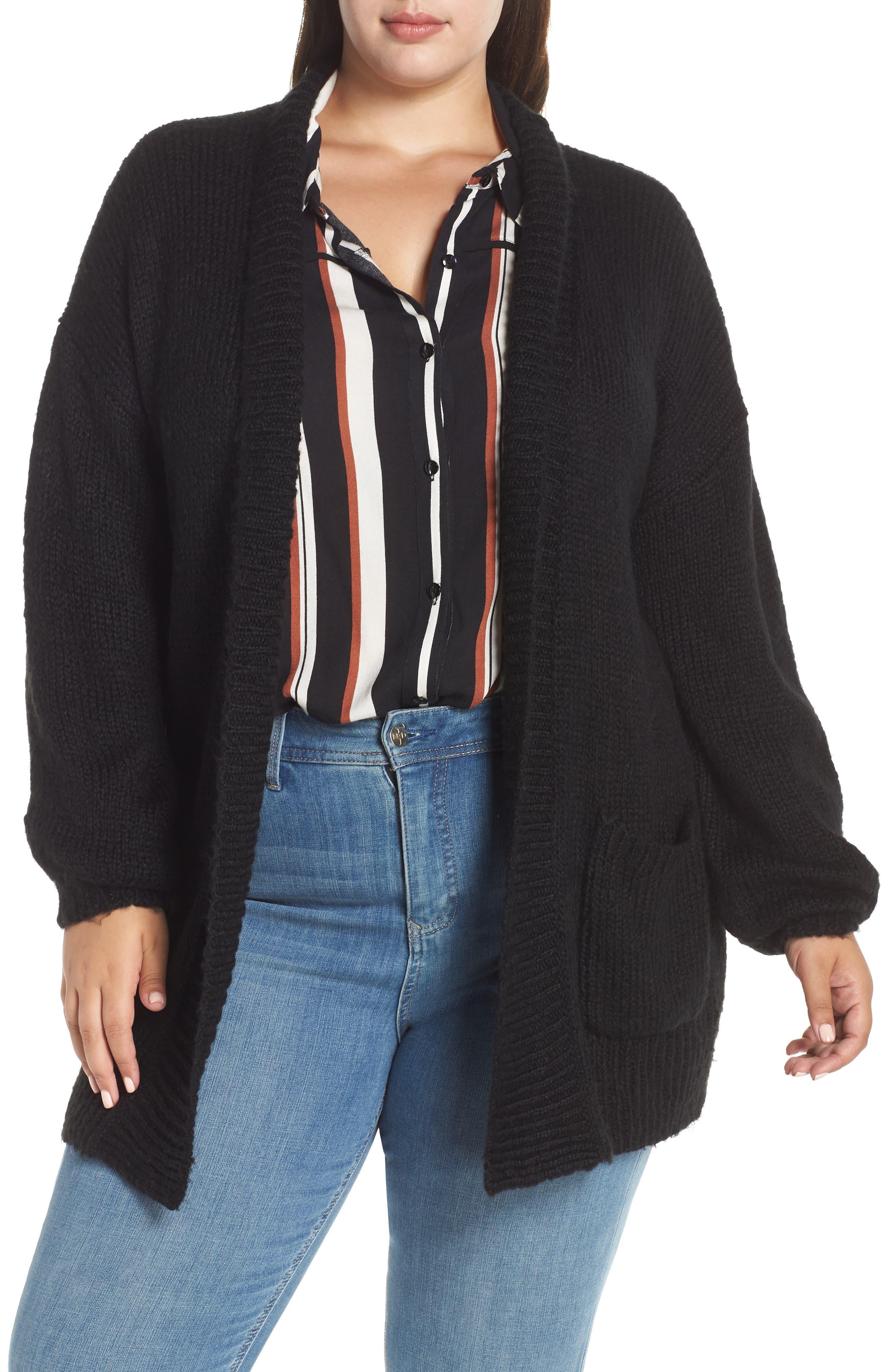 Cozy Shawl Collar Cardigan,                             Main thumbnail 1, color,                             BLACK