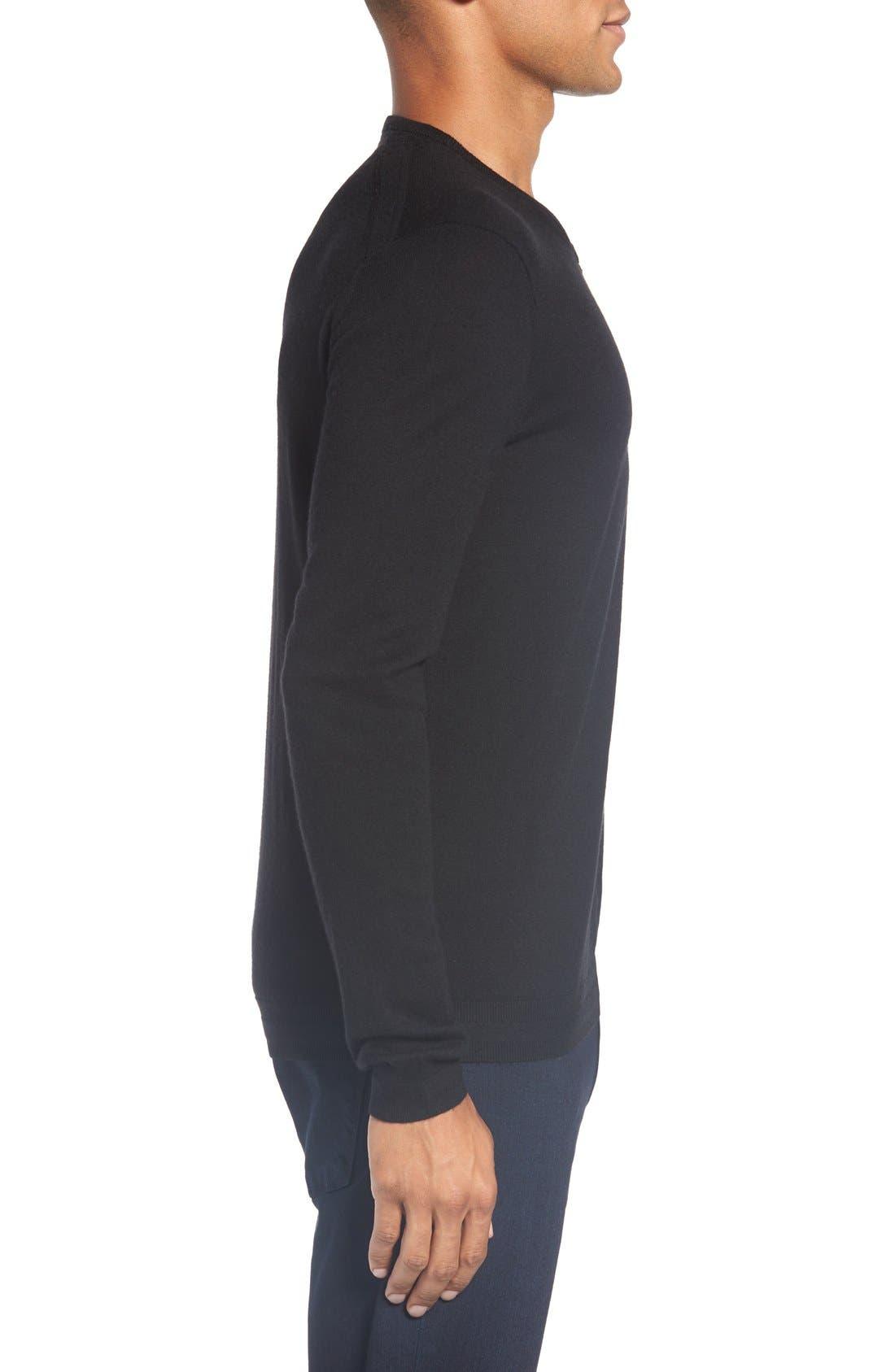 'Cashguy' Trim Fit V-Neck Sweater,                             Alternate thumbnail 3, color,                             001