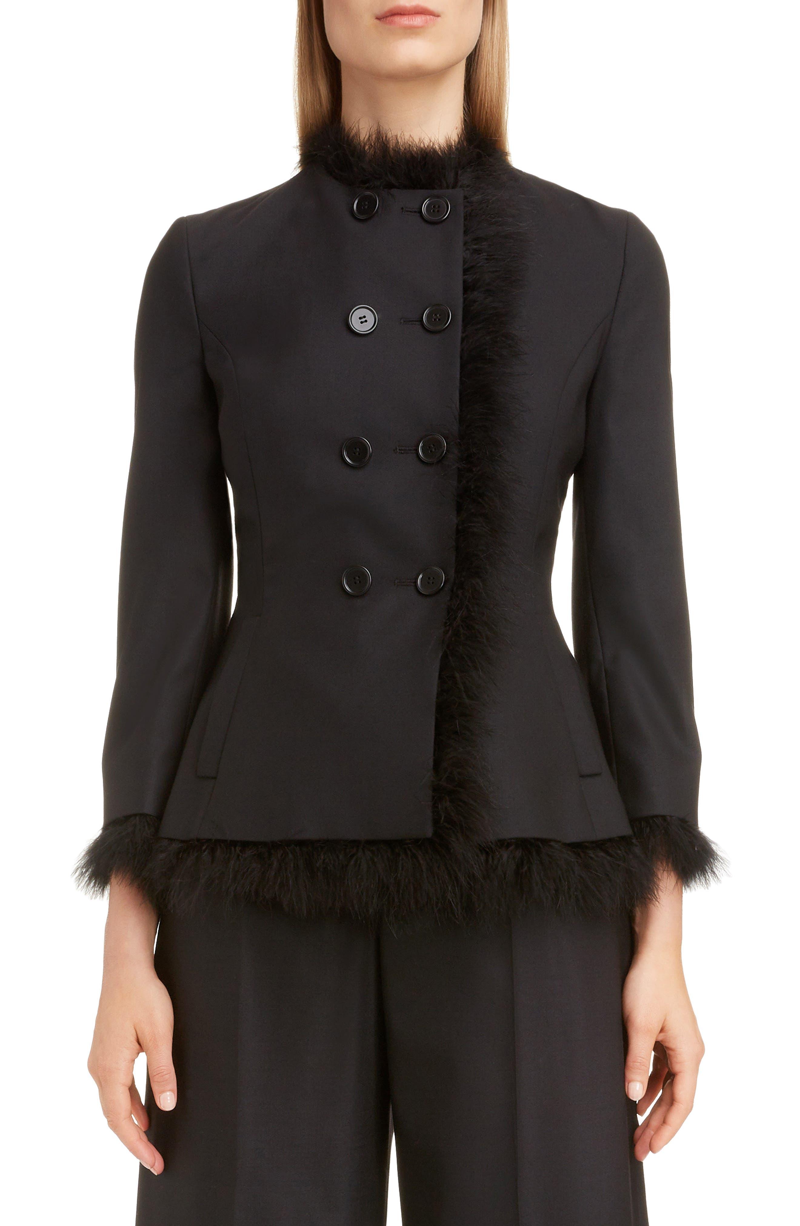 SIMONE ROCHA,                             Marabou Trim Double Breasted Stretch Wool Jacket,                             Main thumbnail 1, color,                             BLACK