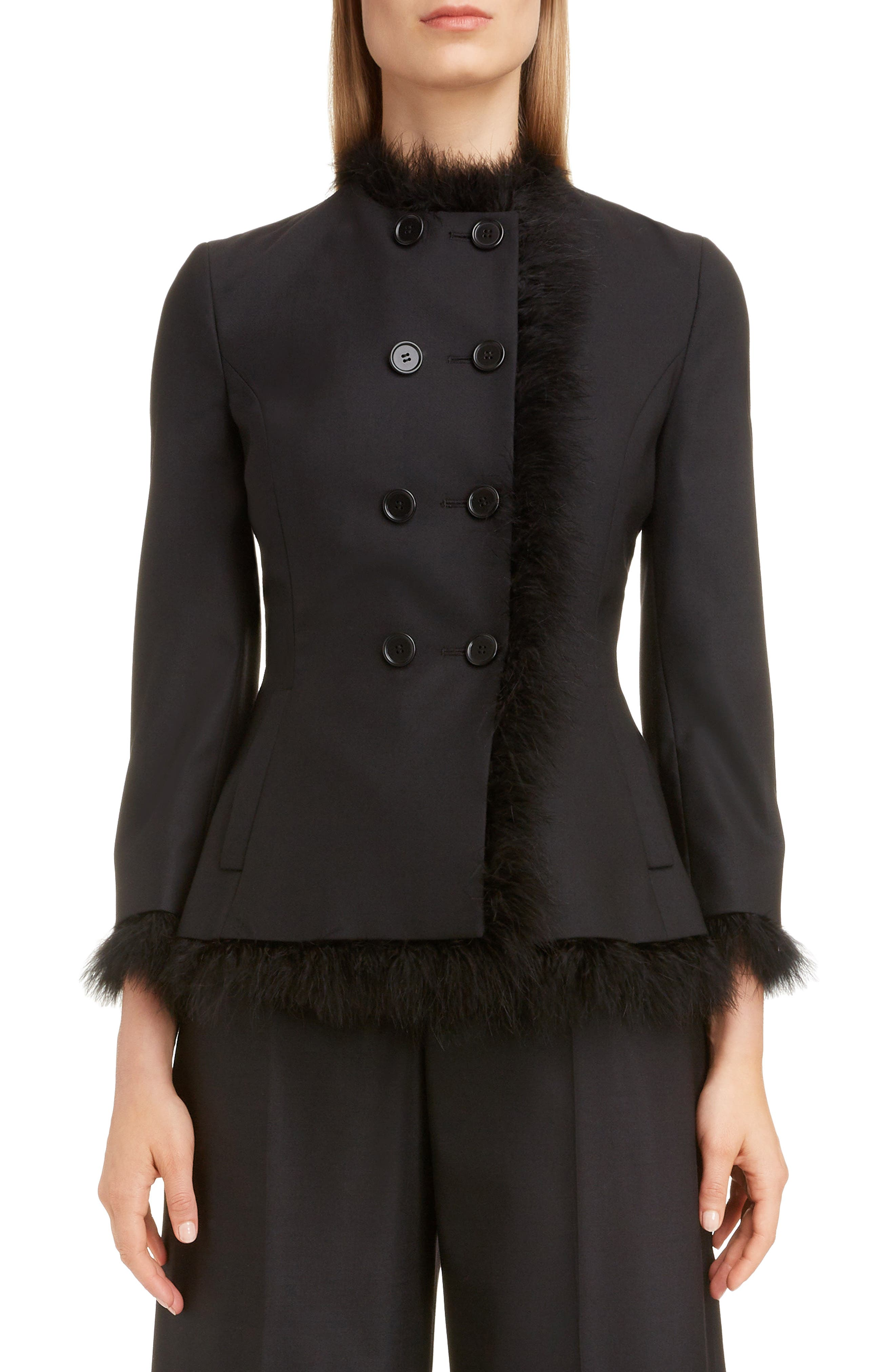 SIMONE ROCHA Marabou Trim Double Breasted Stretch Wool Jacket, Main, color, BLACK