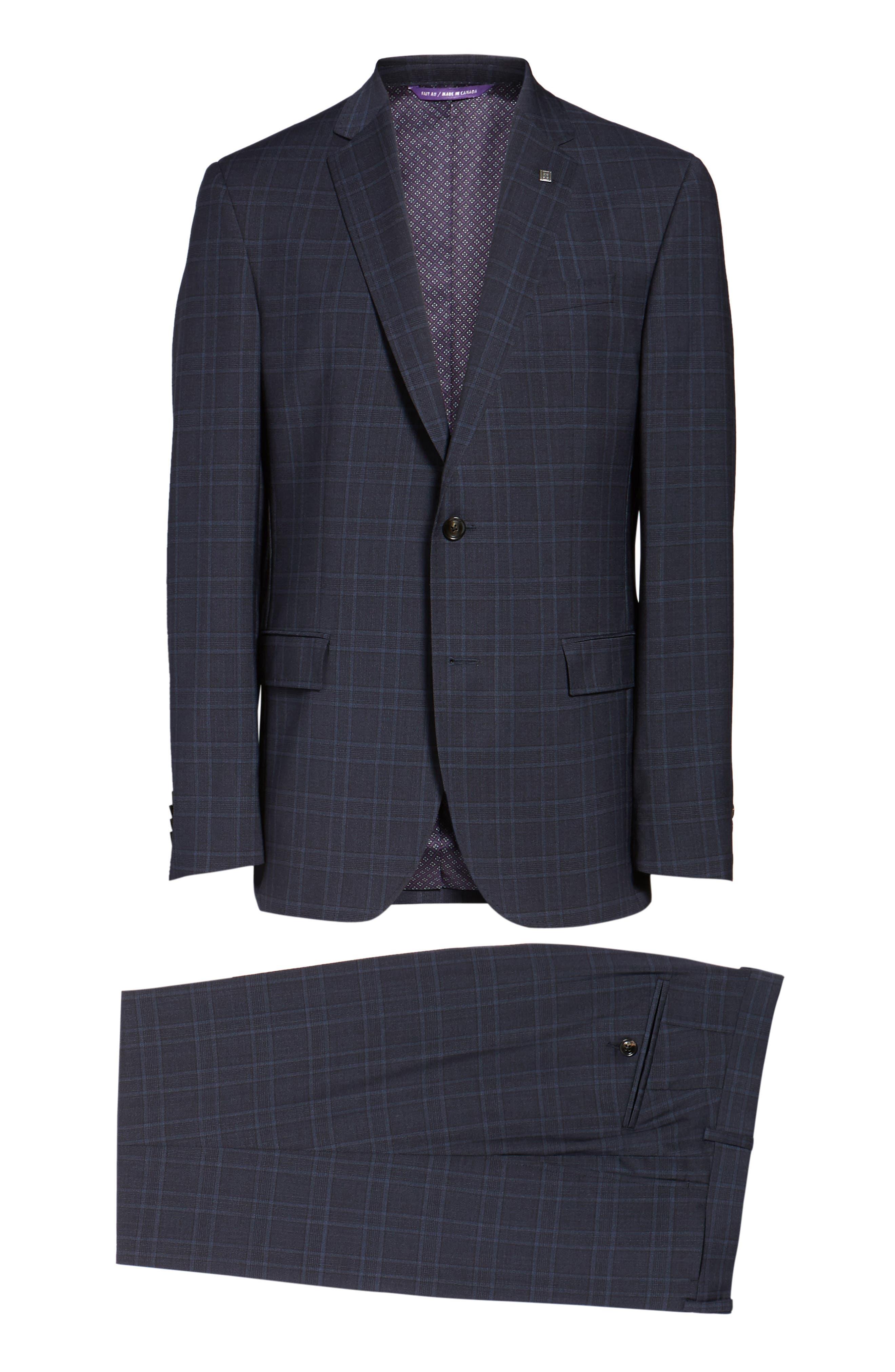 Jay Trim Fit Plaid Wool Suit,                             Alternate thumbnail 8, color,                             400