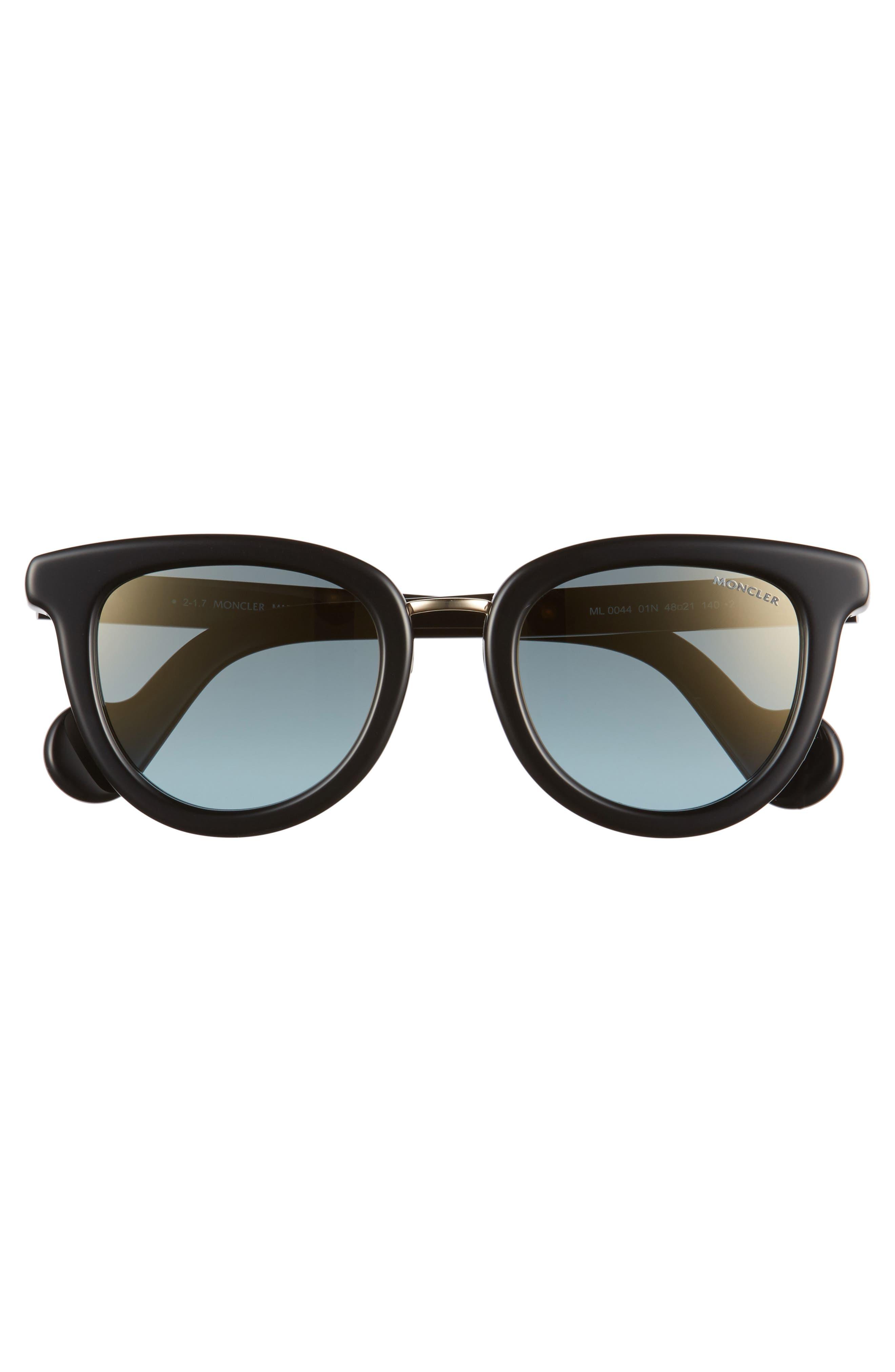 48mm Cat Eye Sunglasses,                             Alternate thumbnail 3, color,                             BLACK/ PALE GOLD/ LIGHT BLUE