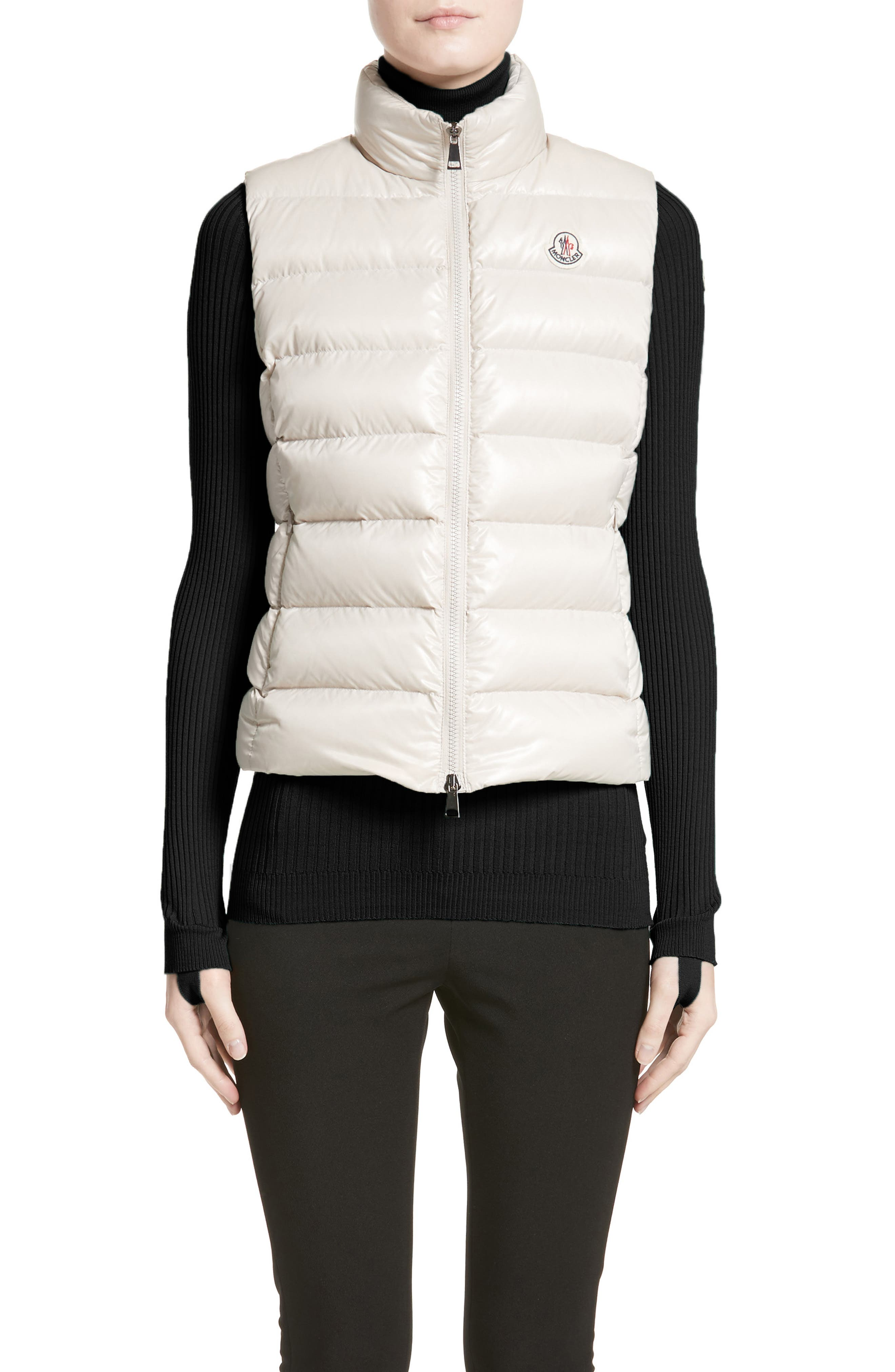 Ghany Water Resistant Shiny Nylon Down Puffer Vest,                             Main thumbnail 1, color,                             BEIGE