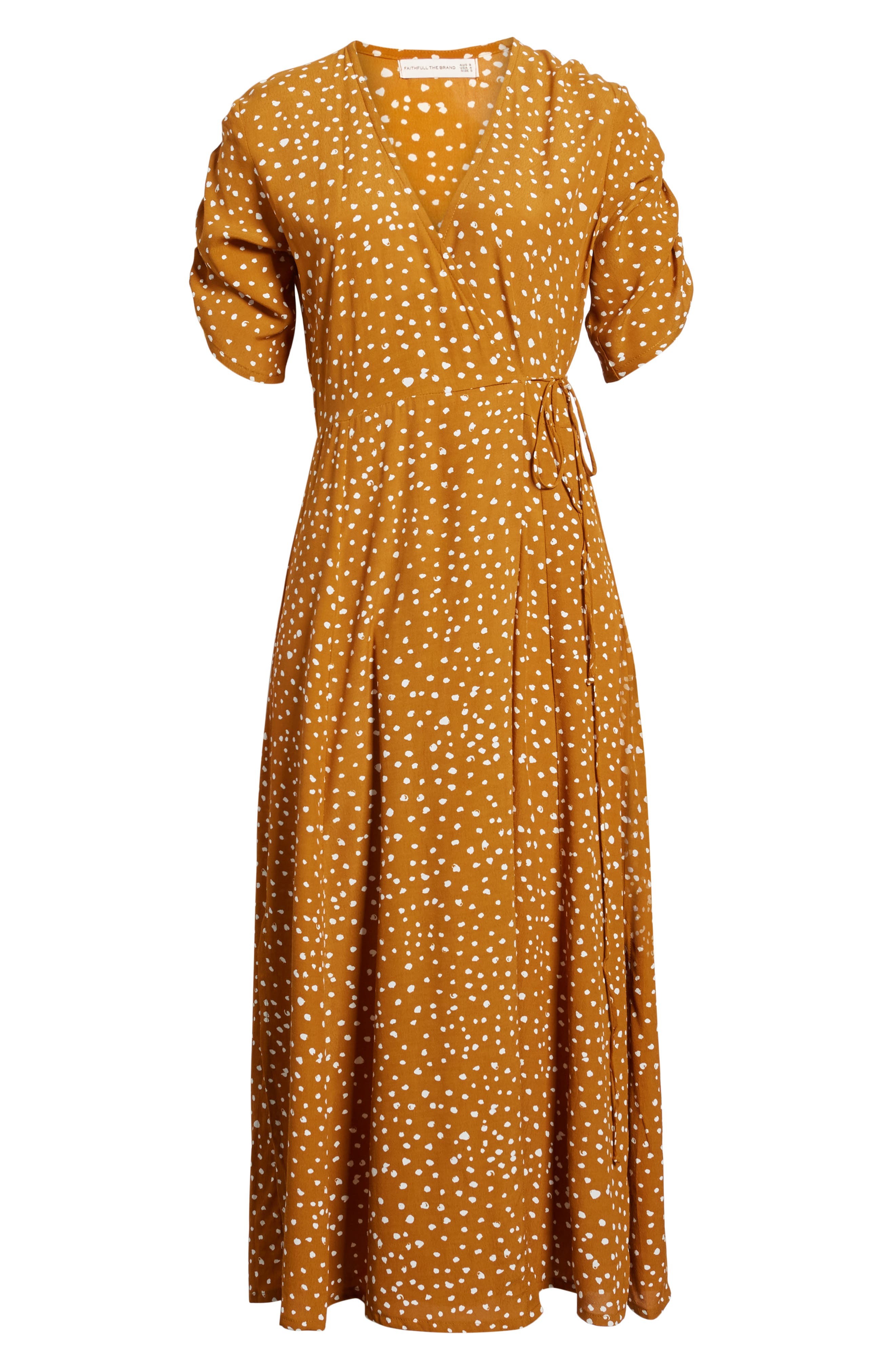 Chiara Dot Print Wrap Dress,                             Alternate thumbnail 4, color,                             700