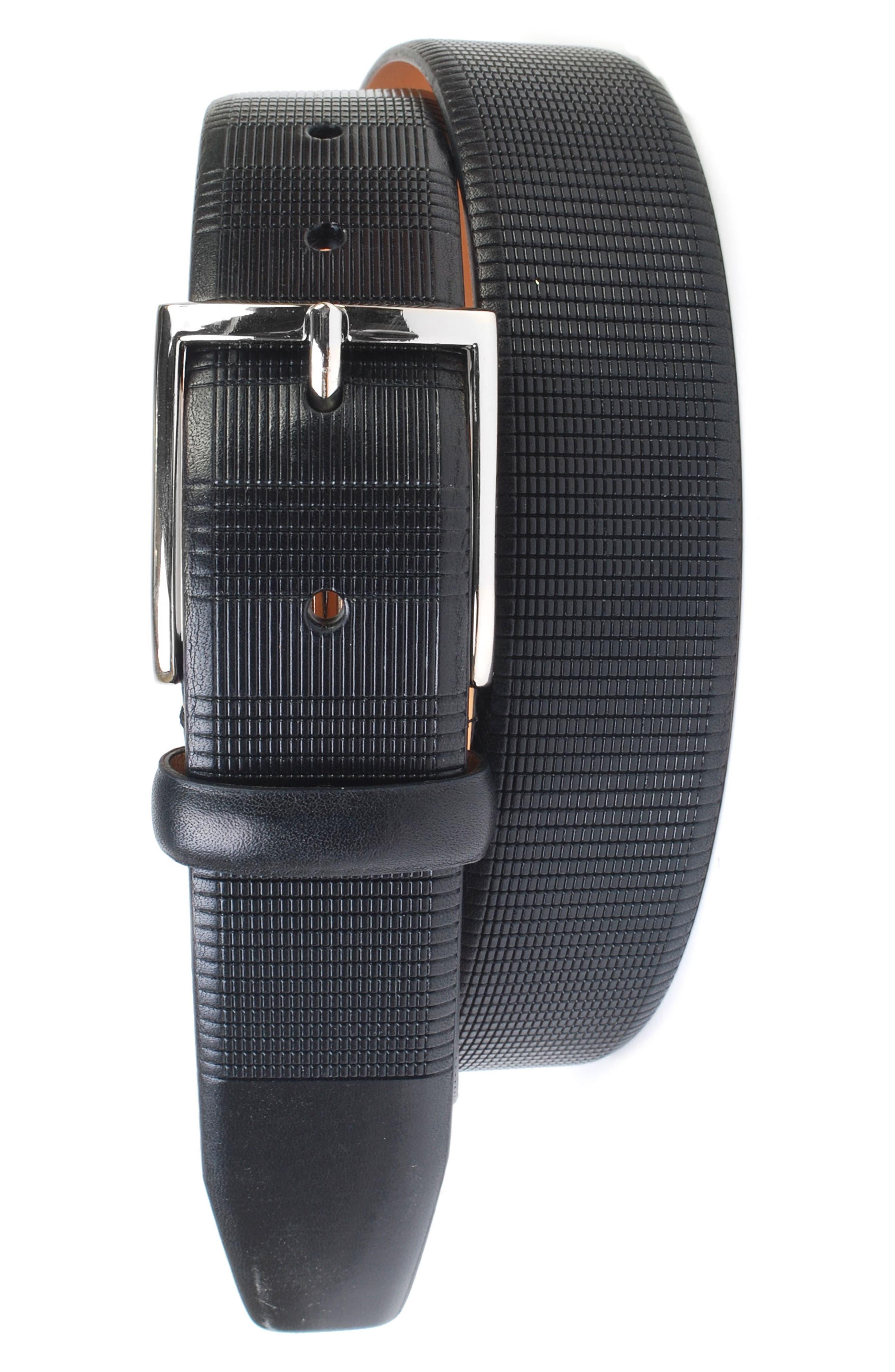 Howell Leather Belt,                         Main,                         color, BLACK