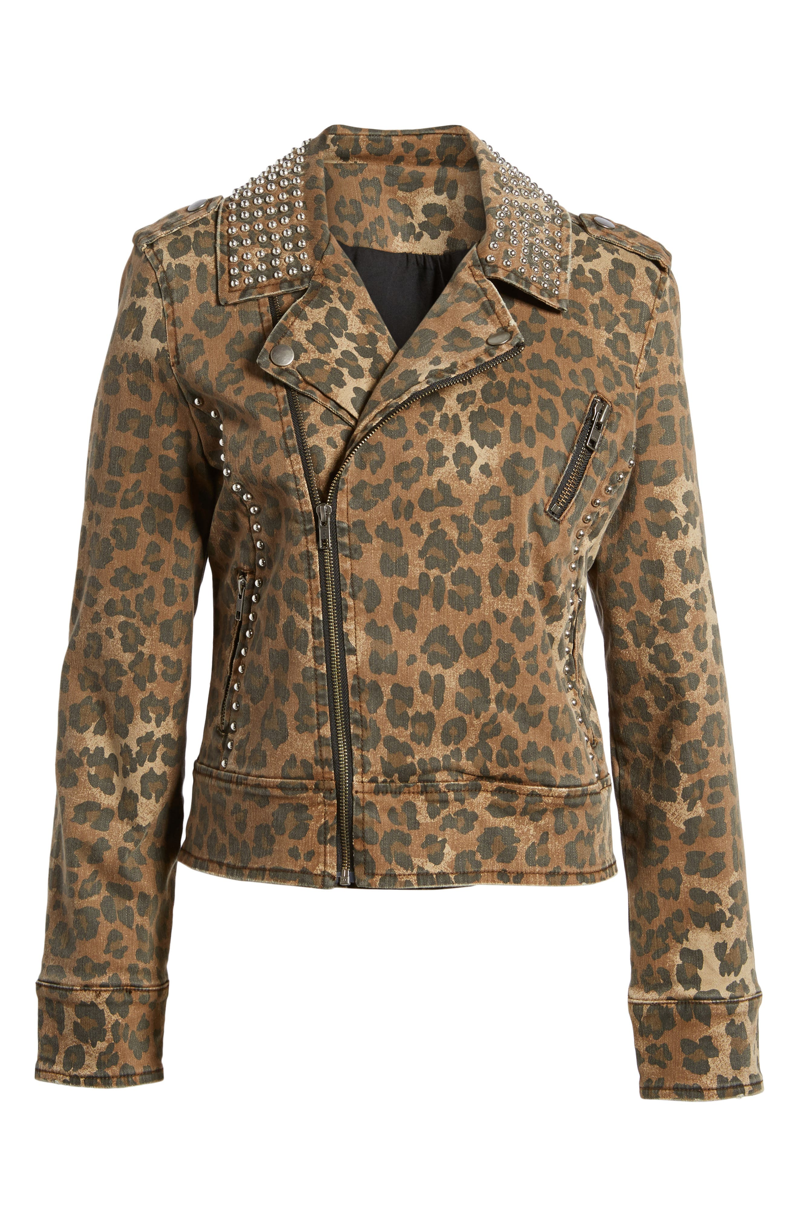 Studded Leopard Print Moto Jacket,                             Alternate thumbnail 5, color,                             200