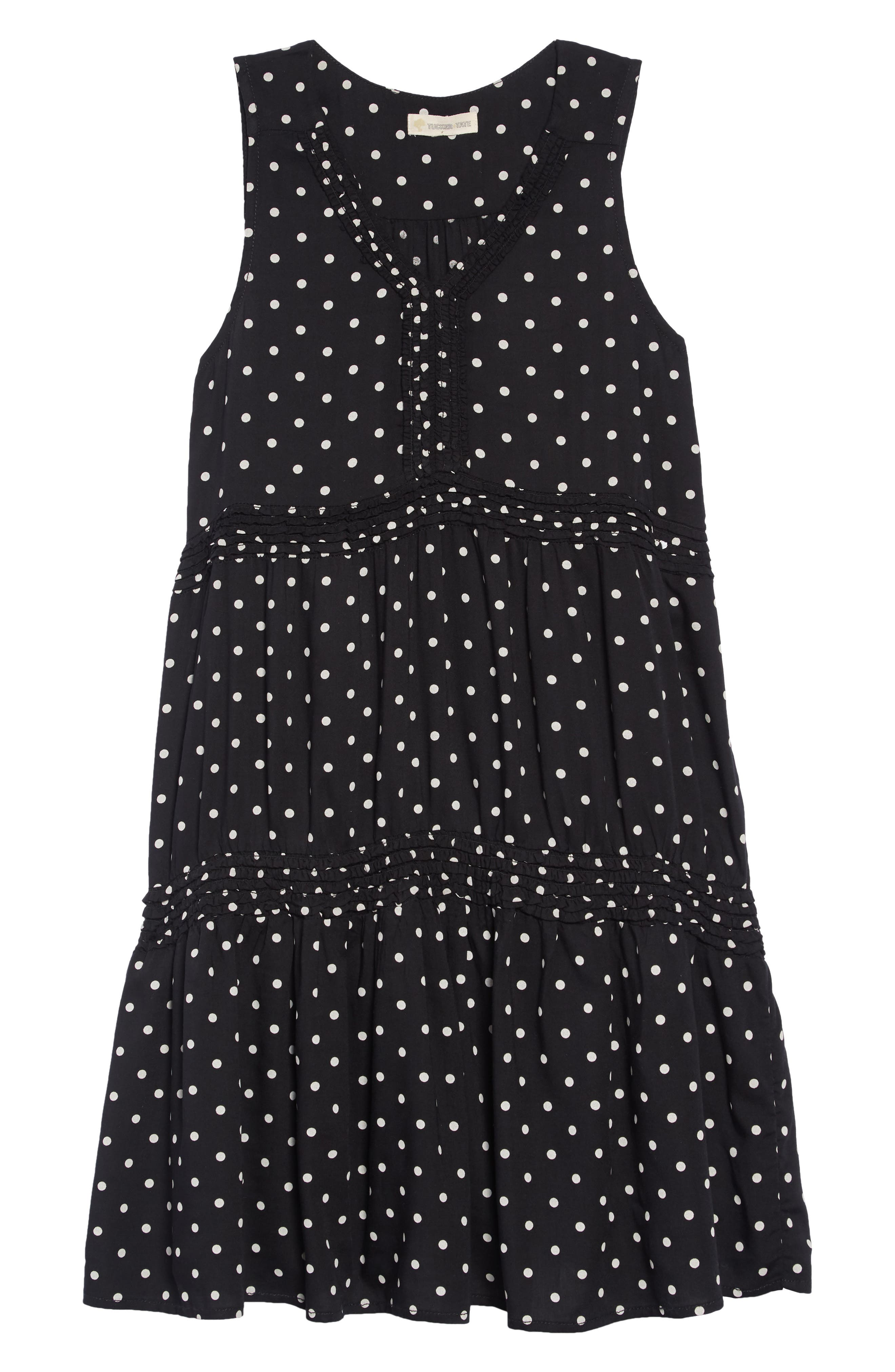 Tiered Print Dress,                             Main thumbnail 1, color,                             BLACK- WHITE DOT