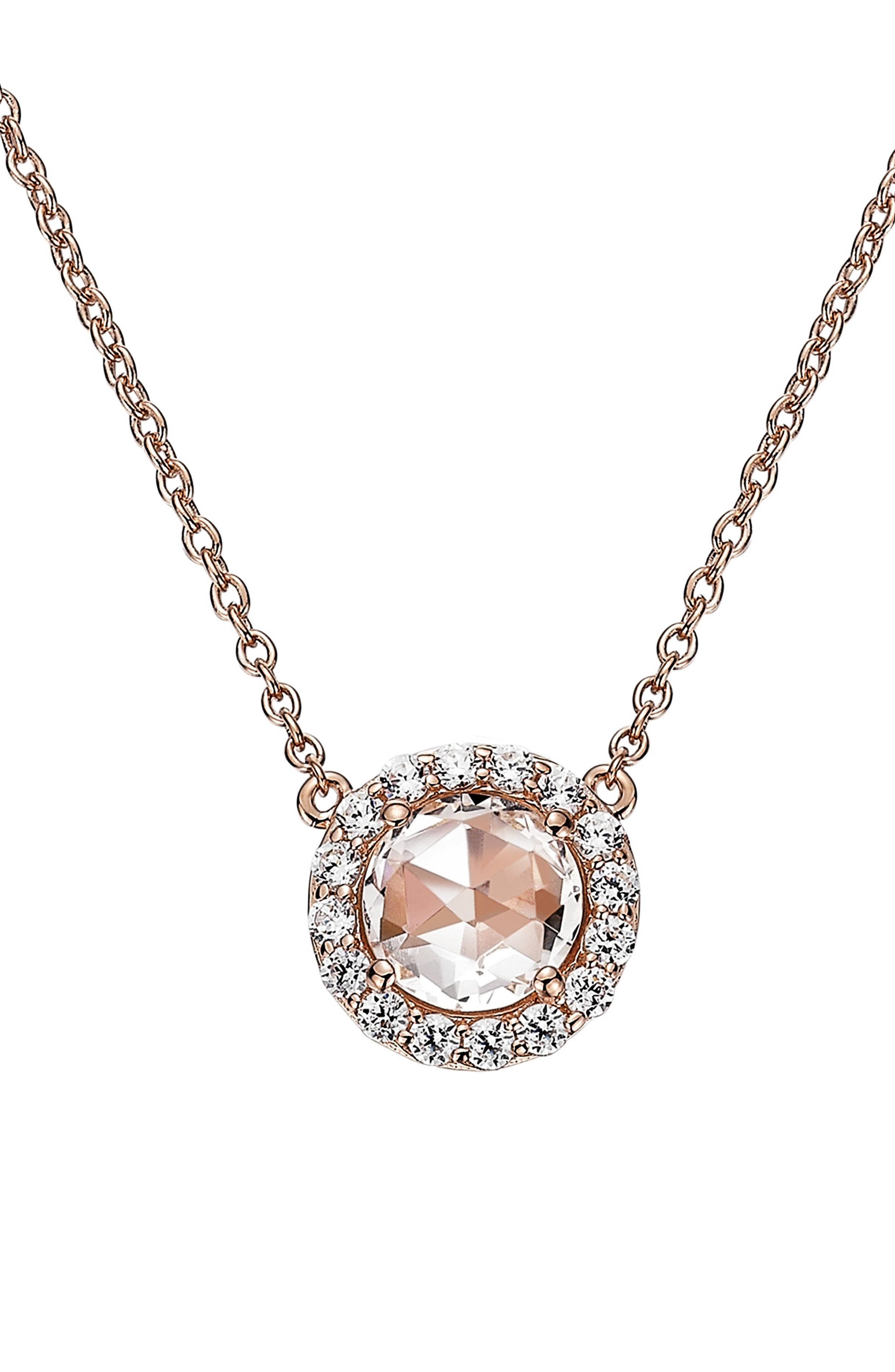 Simulated Diamond Pendant Necklace,                         Main,                         color, PINK / ROSE GOLD