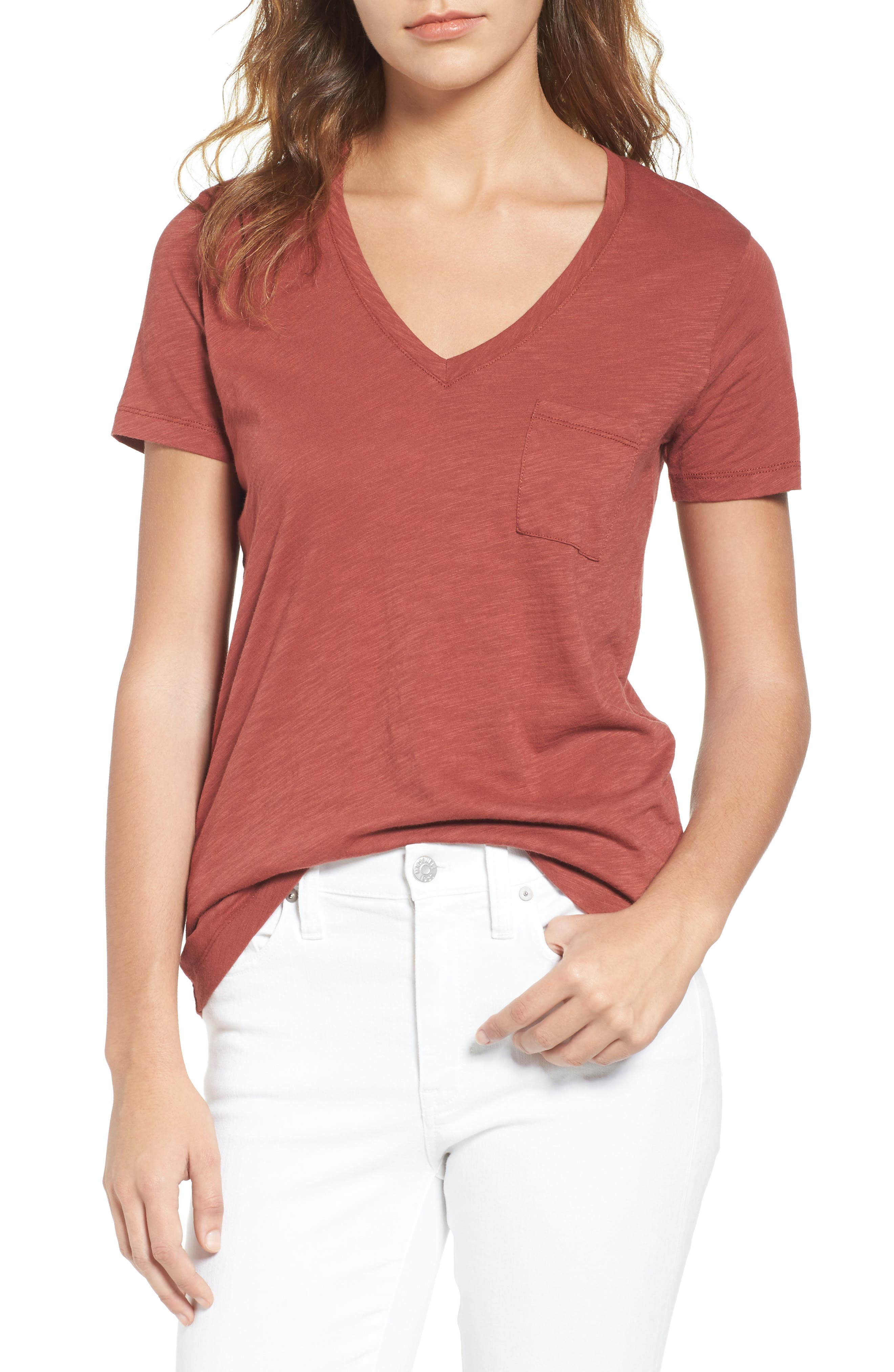 Whisper Cotton V-Neck Pocket Tee,                             Main thumbnail 14, color,