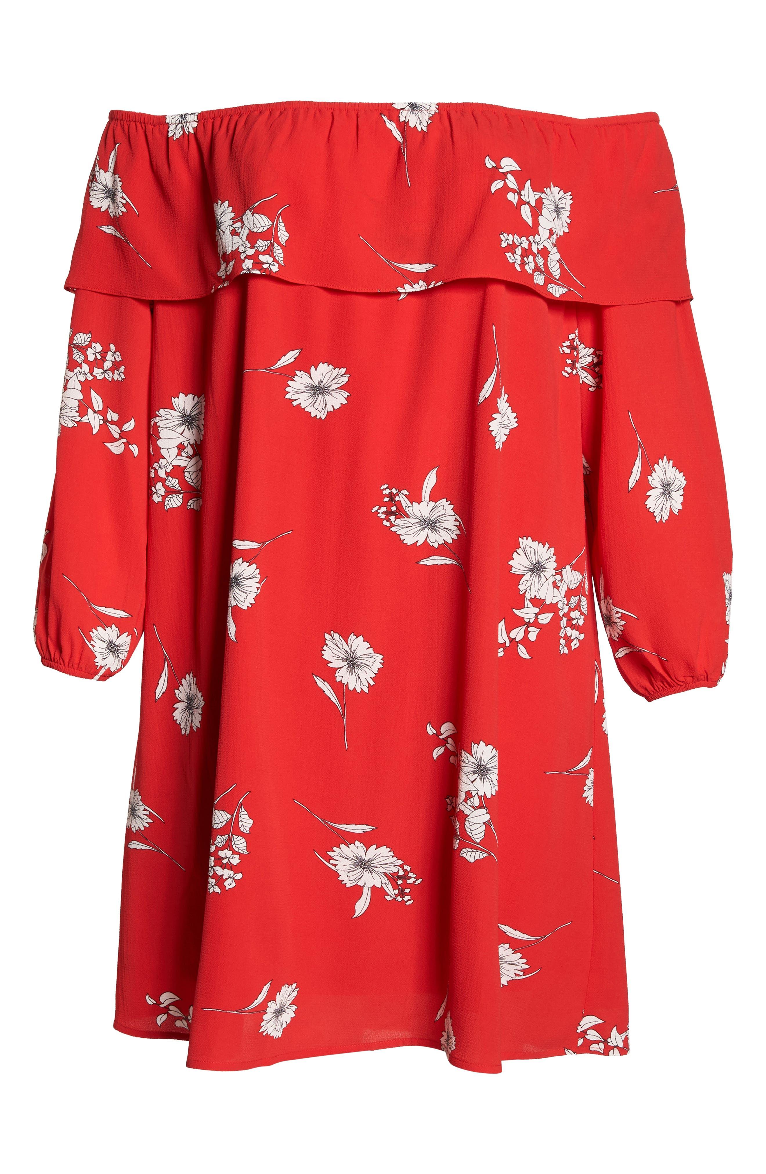 Floral Off the Shoulder Shift Dress,                             Alternate thumbnail 6, color,                             600