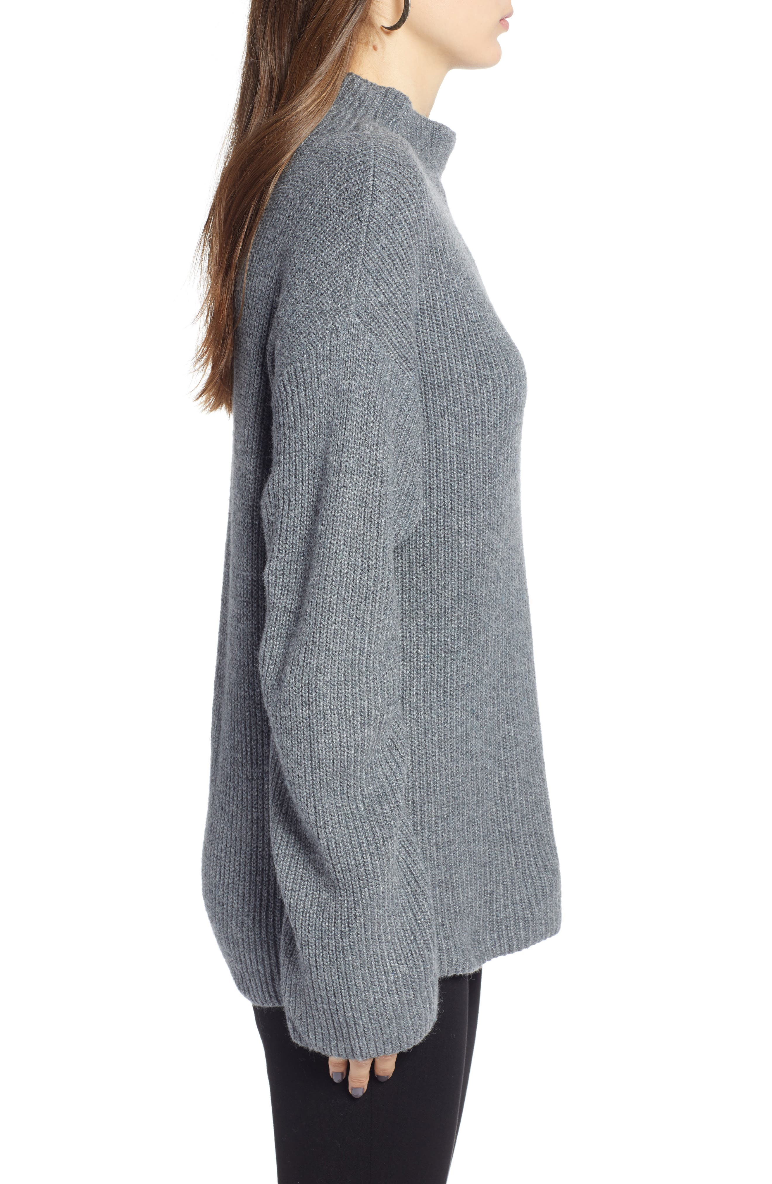 Ribbed Funnel Neck Sweater,                             Alternate thumbnail 3, color,                             030