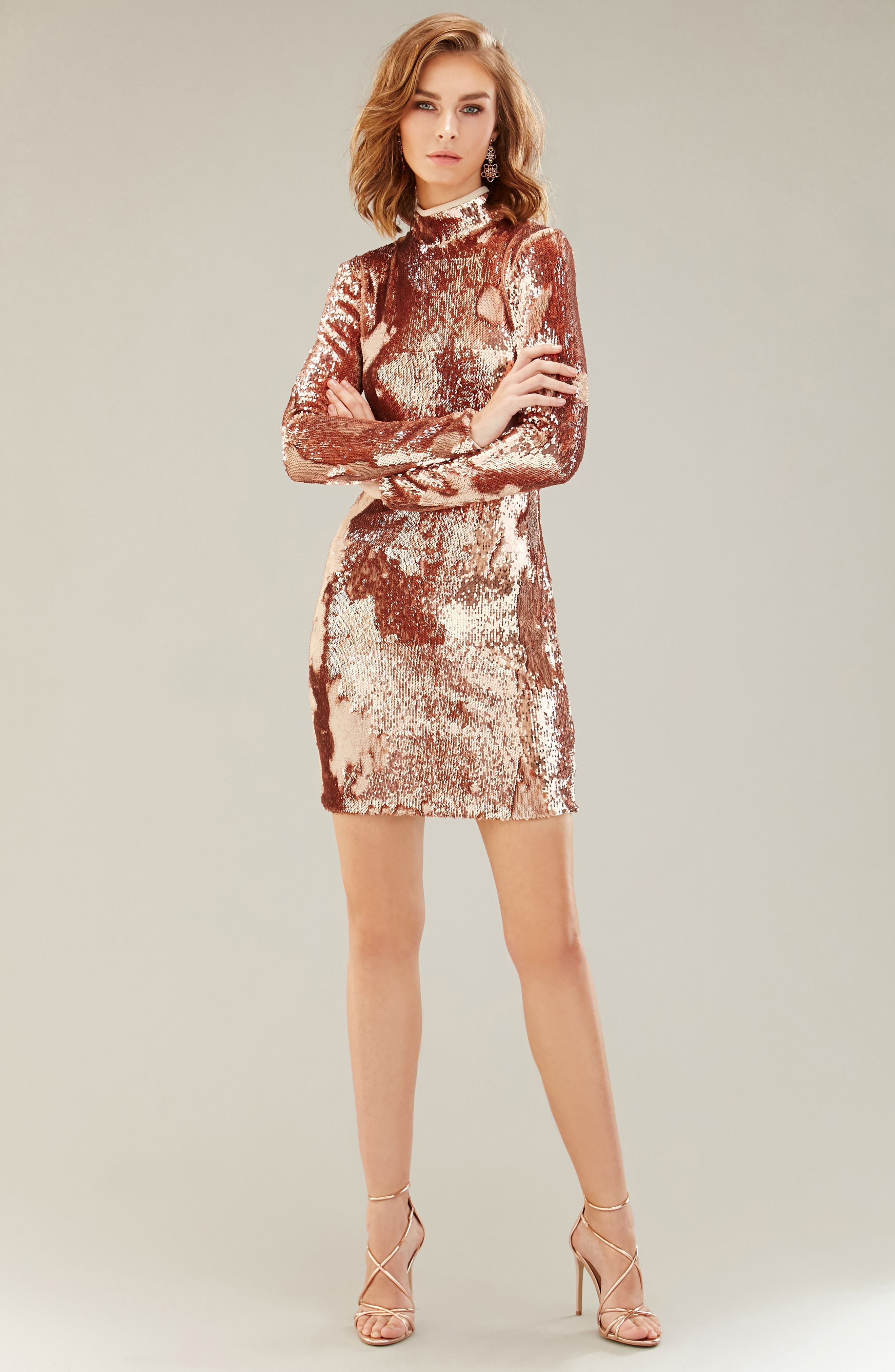 Katy Reversible Sequin Body-Con Dress,                             Alternate thumbnail 9, color,                             ROSE GOLD/ NUDE