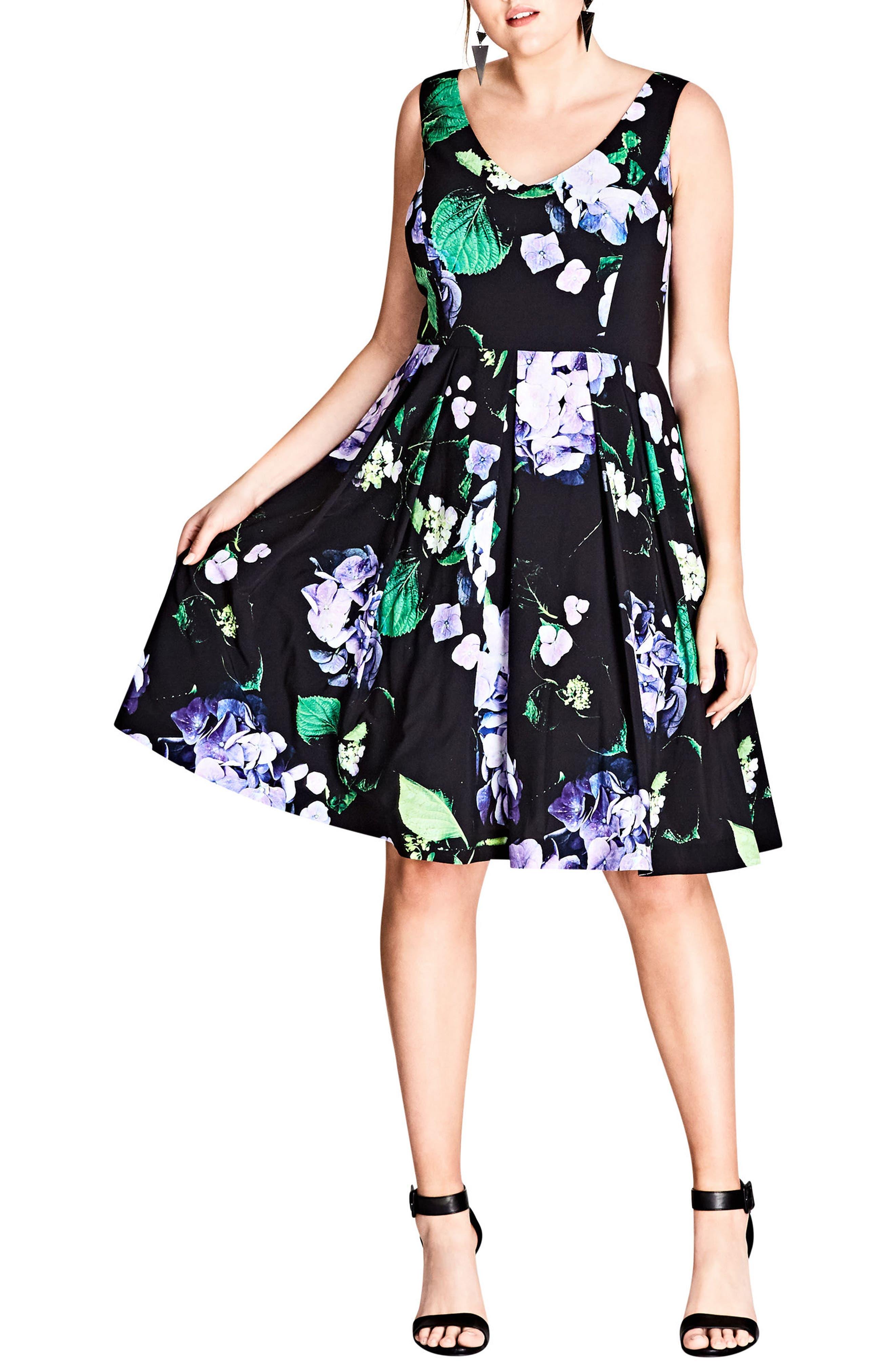 Cinematic Floral Fit & Flare Dress,                         Main,                         color, BLACK