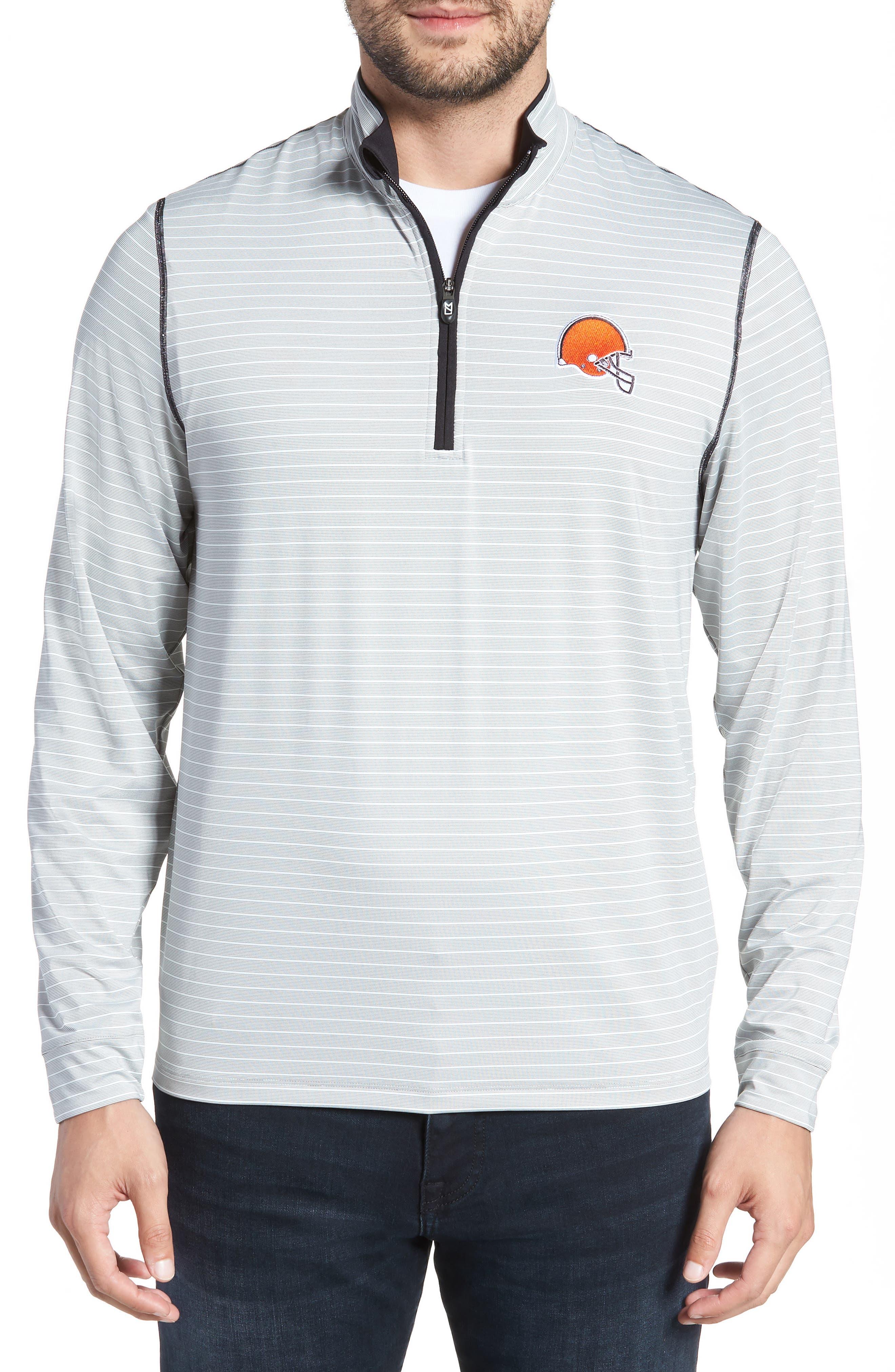 Meridian - Cleveland Browns Regular Fit Half Zip Pullover,                             Main thumbnail 1, color,                             BLACK