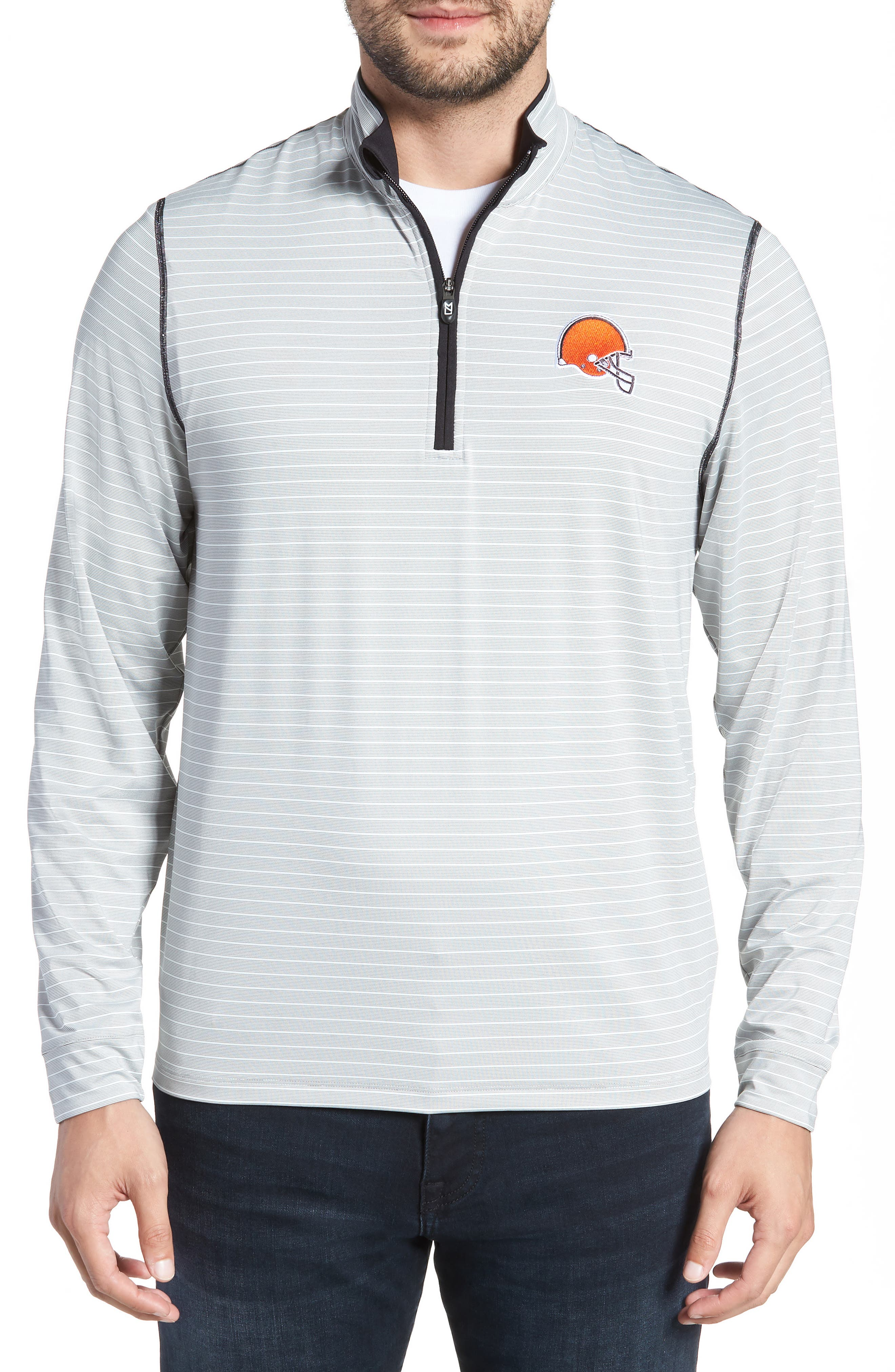 Meridian - Cleveland Browns Regular Fit Half Zip Pullover,                         Main,                         color, BLACK