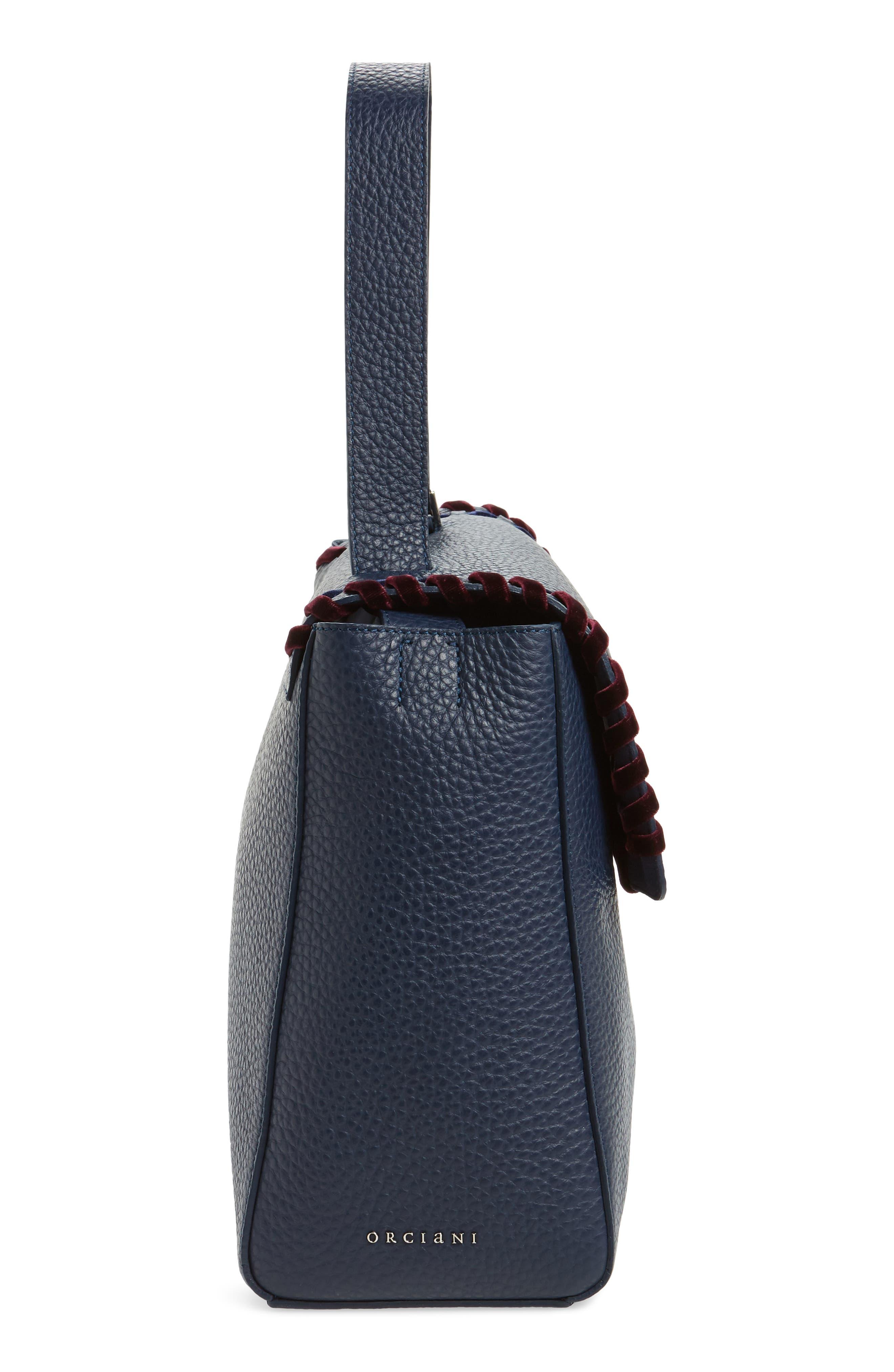 Large Sveva Velvet Trim Calfskin Leather Satchel,                             Alternate thumbnail 5, color,                             400