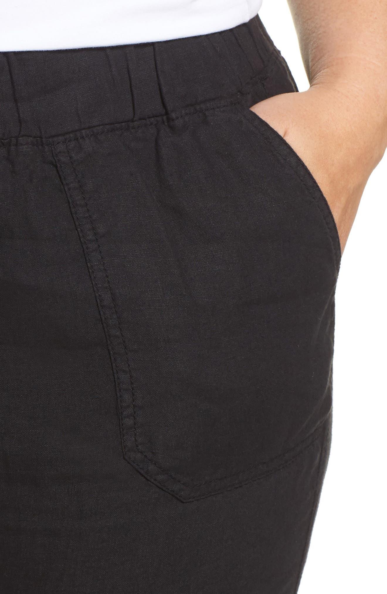 CASLON<SUP>®</SUP>,                             Drawstring Linen Joggers,                             Alternate thumbnail 4, color,                             BLACK
