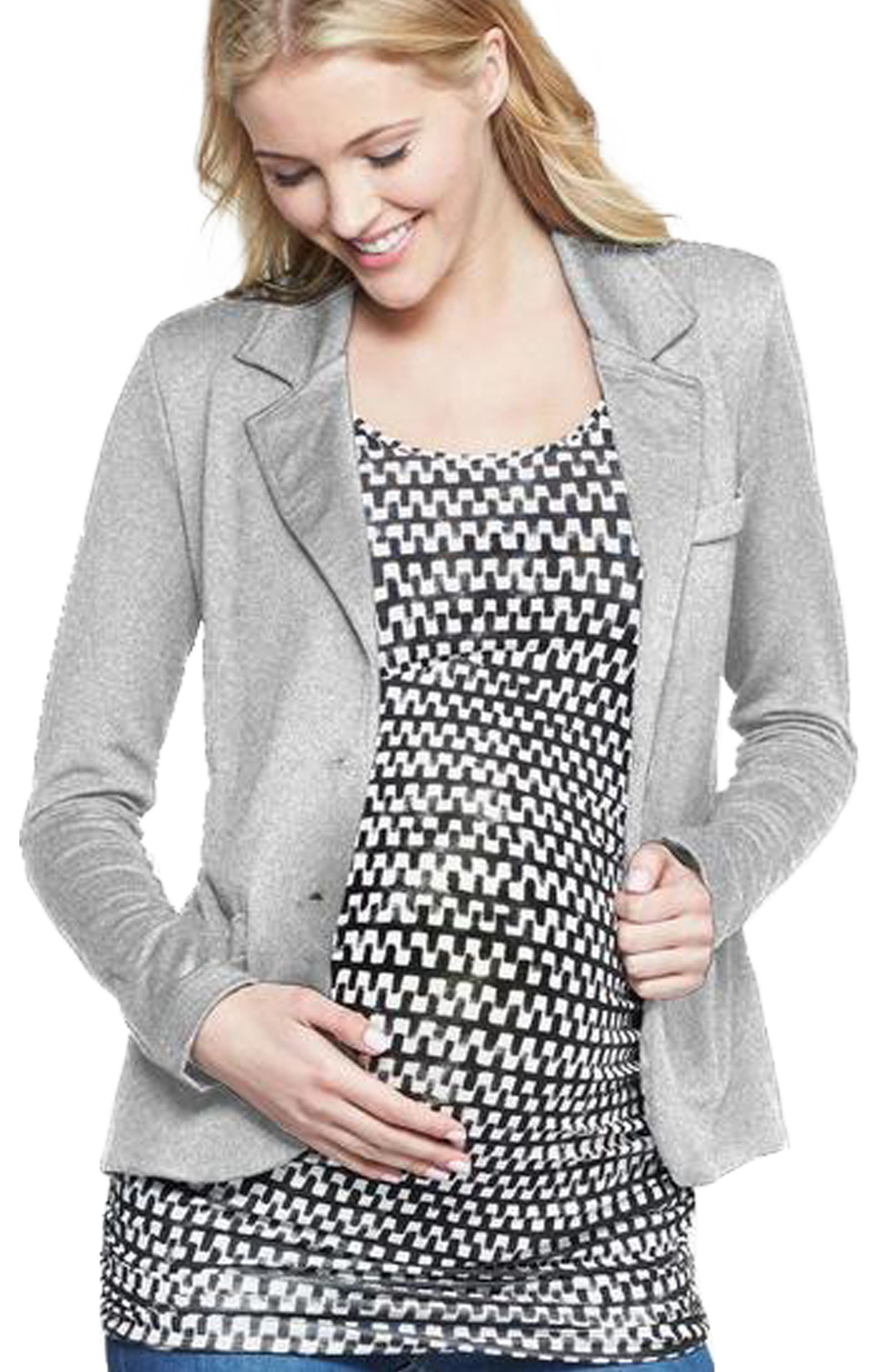 Essential Maternity Blazer,                             Alternate thumbnail 2, color,                             HEATHER GREY