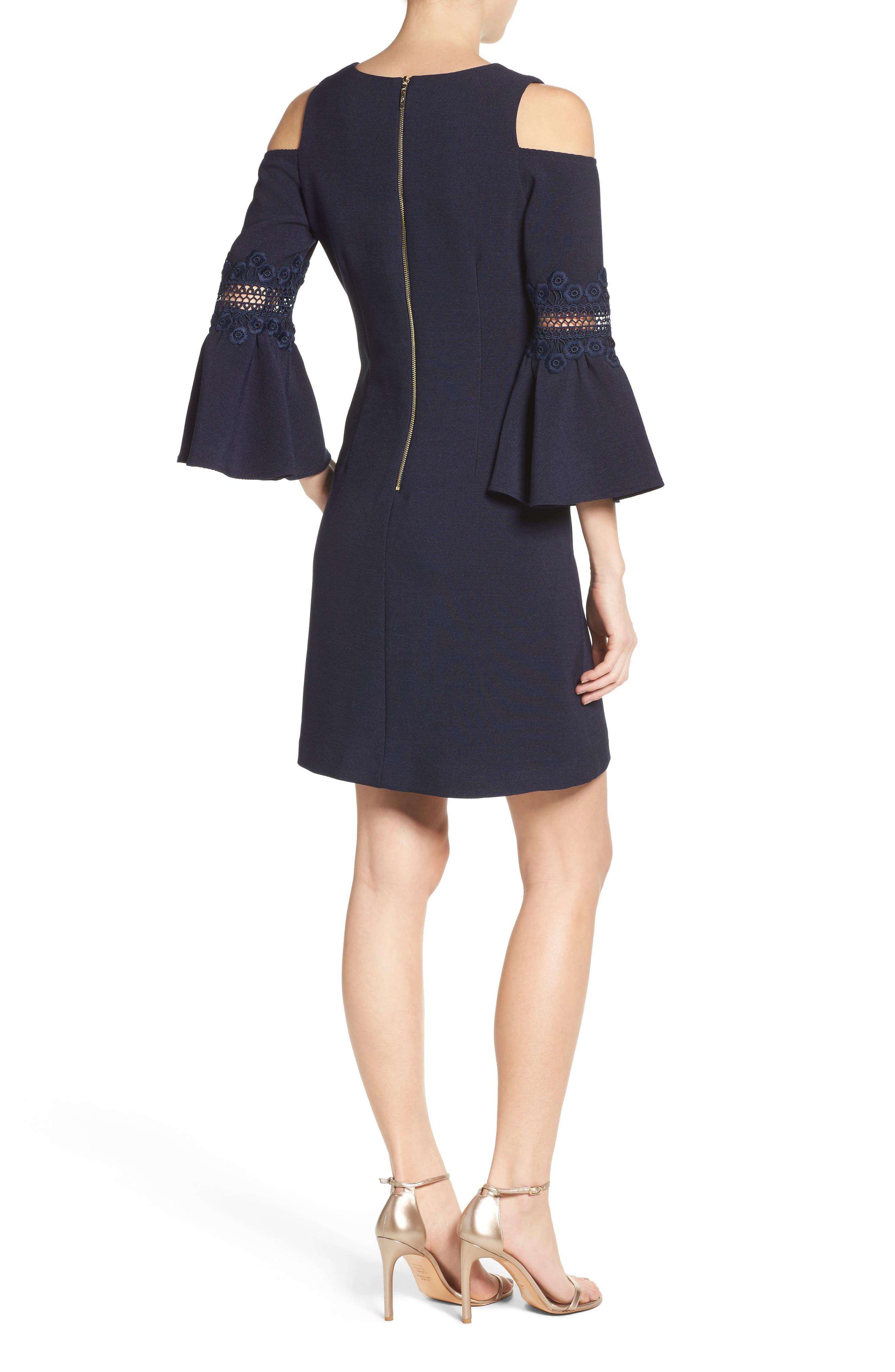 Lace Appliqué Crepe Cold Shoulder Dress,                             Alternate thumbnail 2, color,                             410