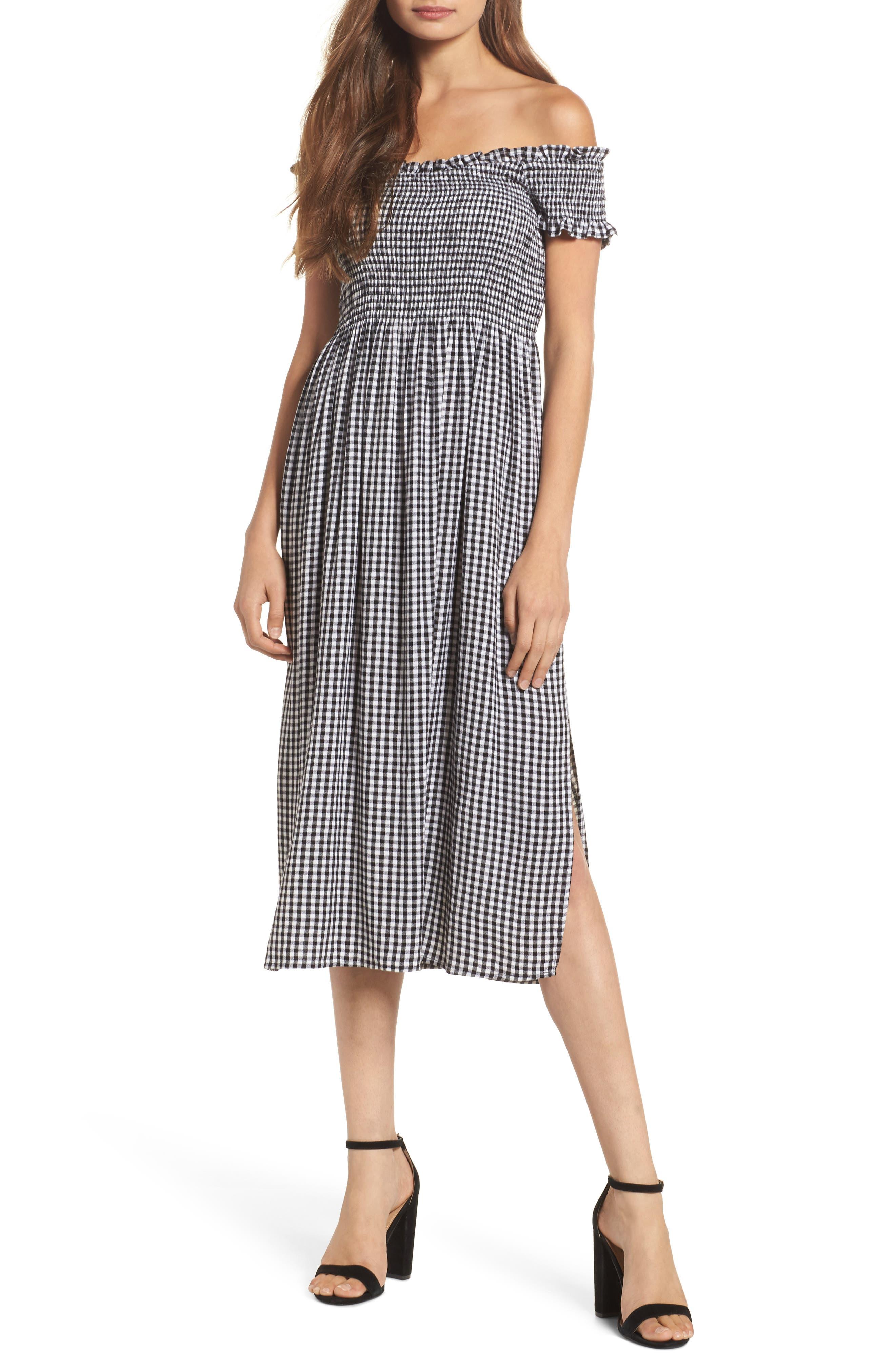 BARDOT Gingham Off the Shoulder Midi Dress, Main, color, BLACK GINGHAM