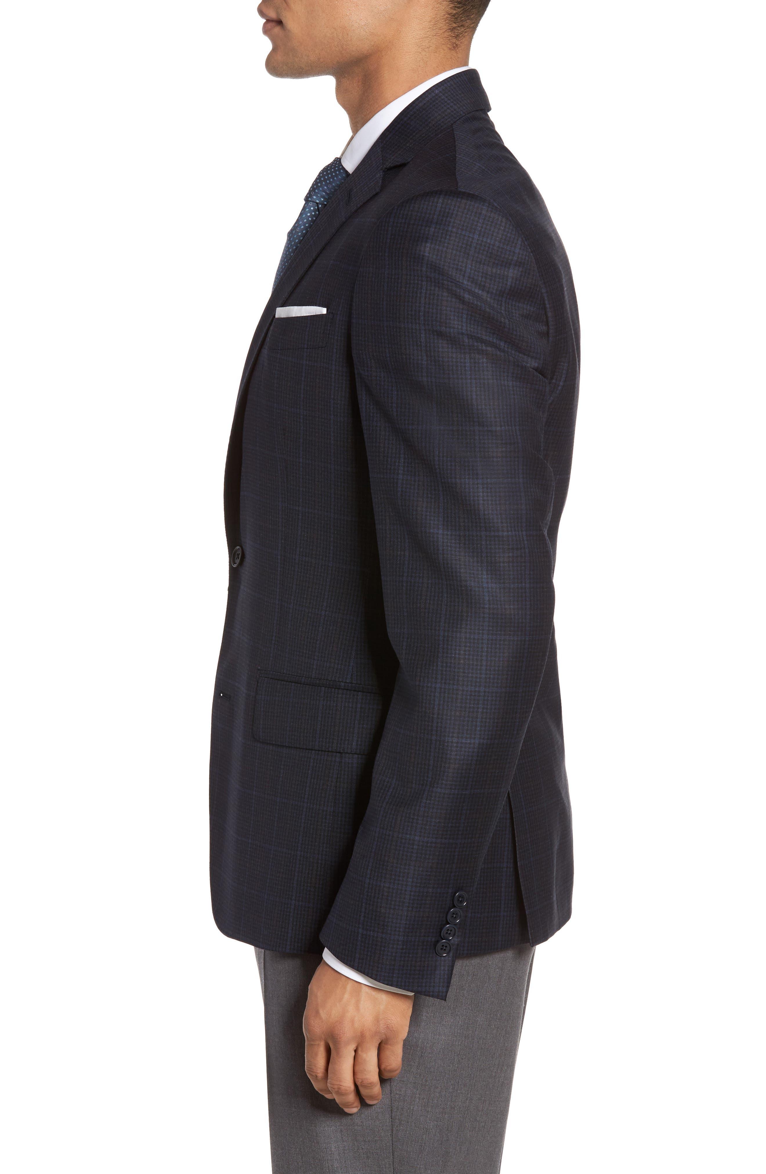 Classic Fit Plaid Wool Sport Coat,                             Alternate thumbnail 3, color,                             410