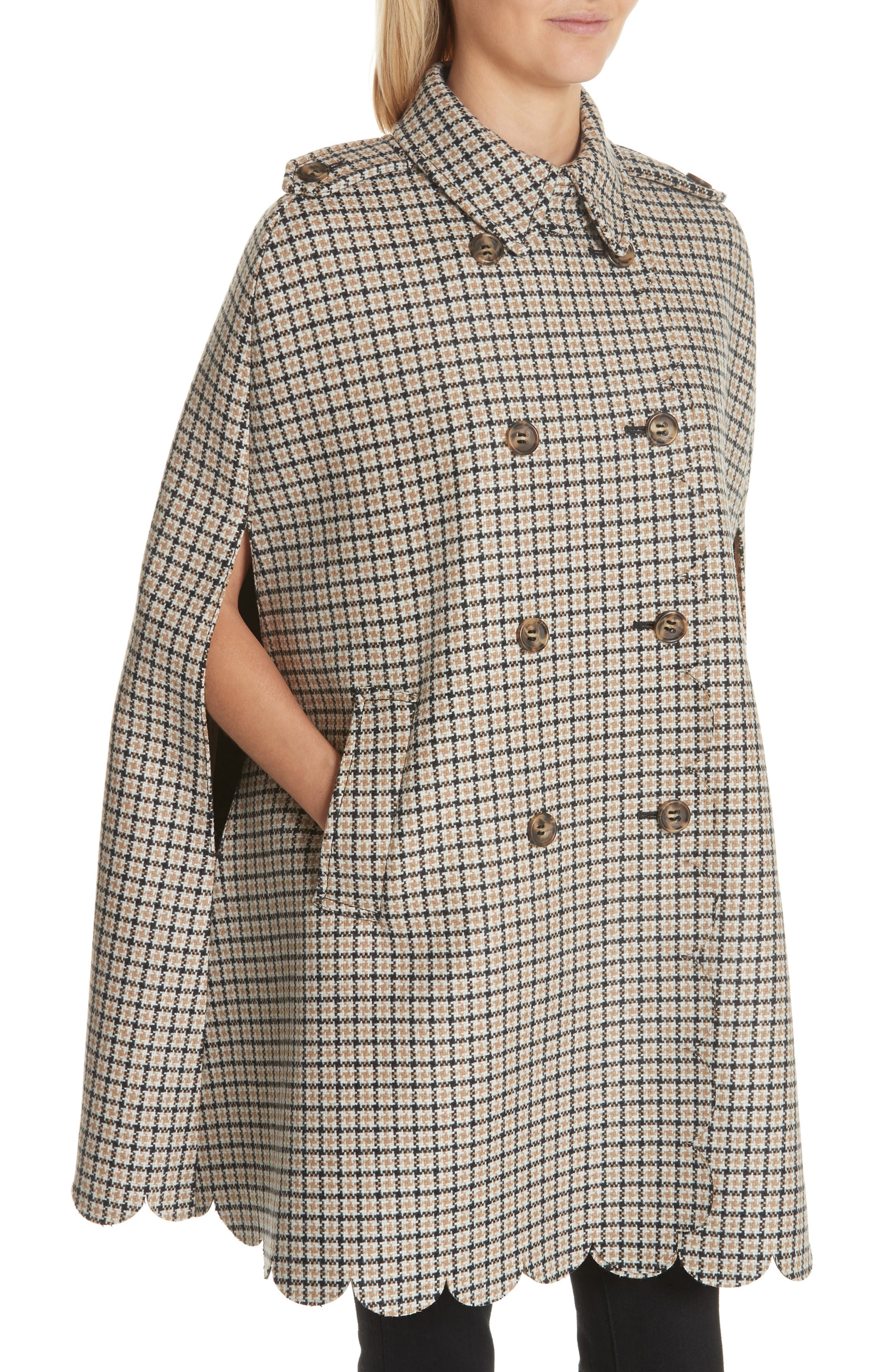 Plaid Wool Blend Cape,                             Alternate thumbnail 4, color,                             250