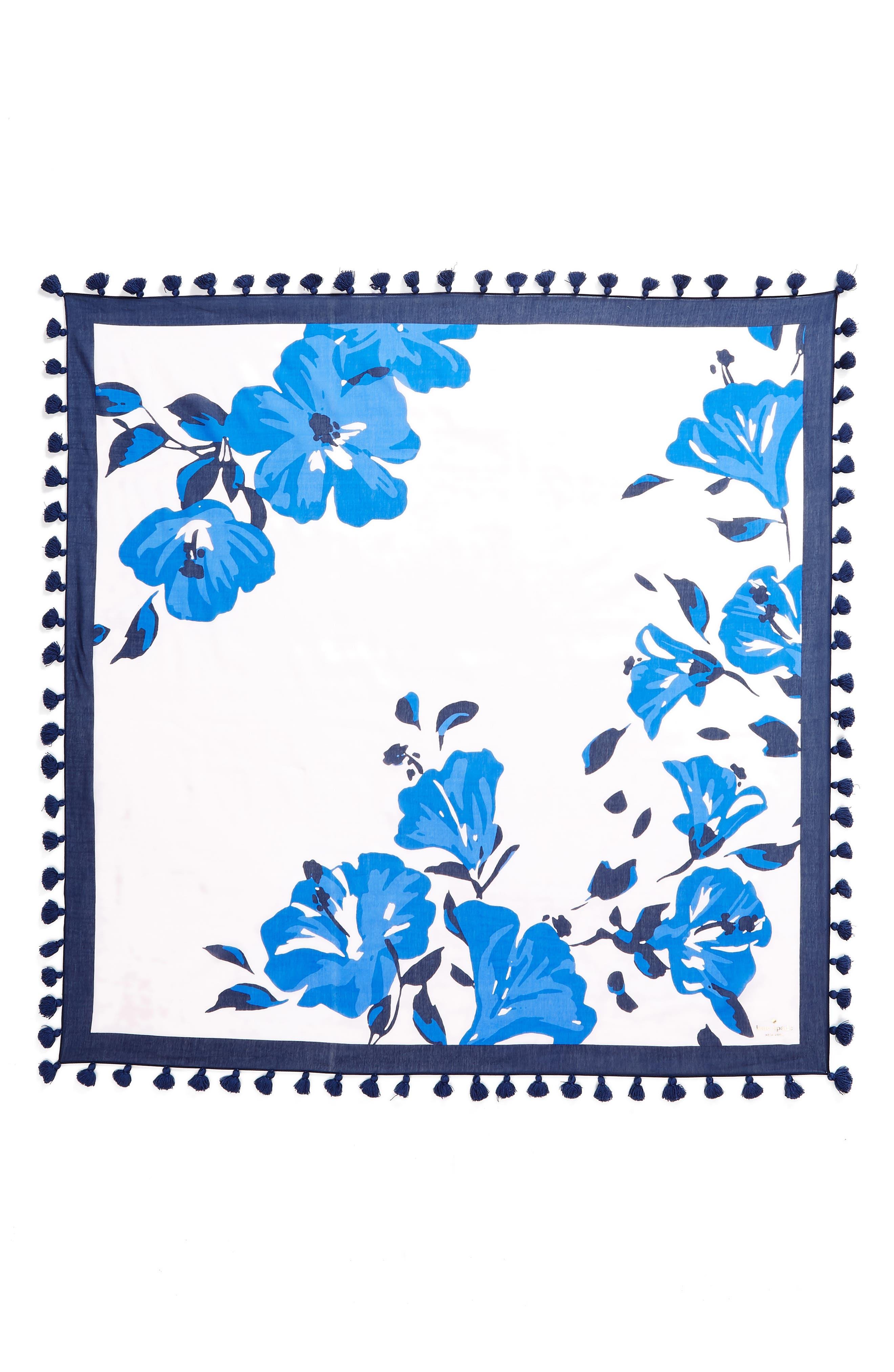 hibiscus square cotton & silk scarf,                             Alternate thumbnail 3, color,                             PINK LEMONADE