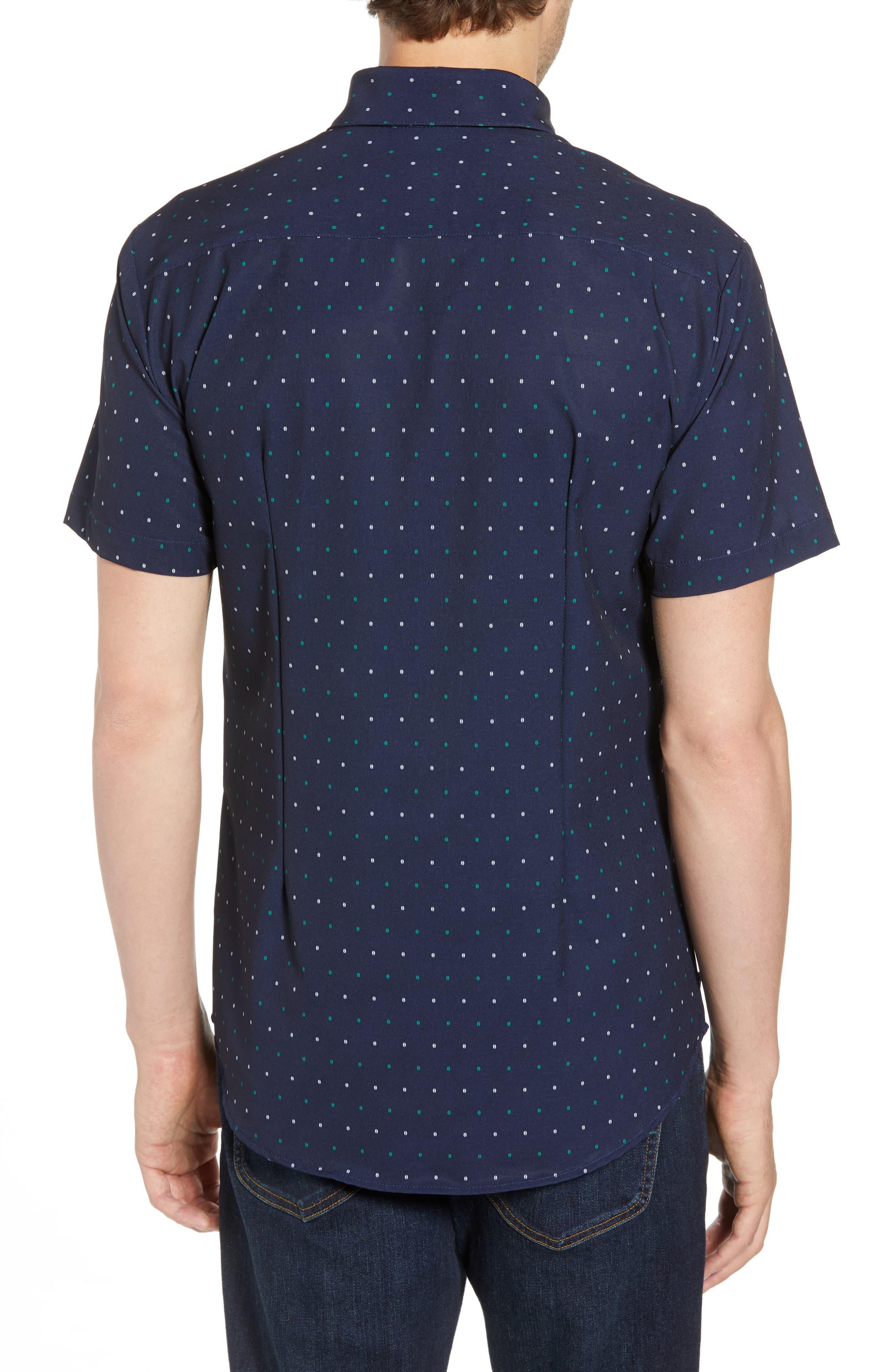 Jameson Regular Fit Dot Performance Sport Shirt,                             Alternate thumbnail 2, color,                             BLUE