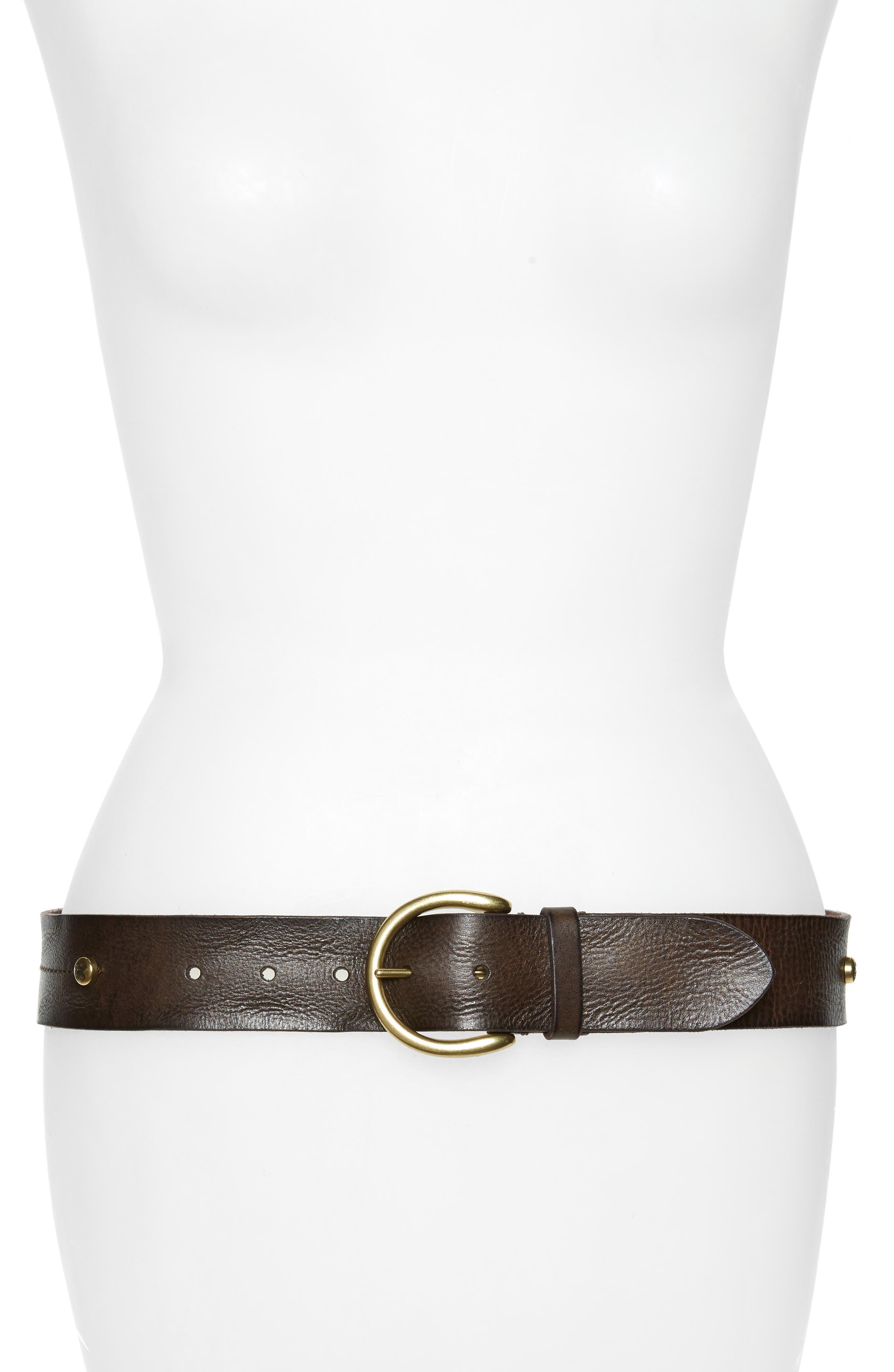 Frye Screw Rivet Leather Belt, Cognac